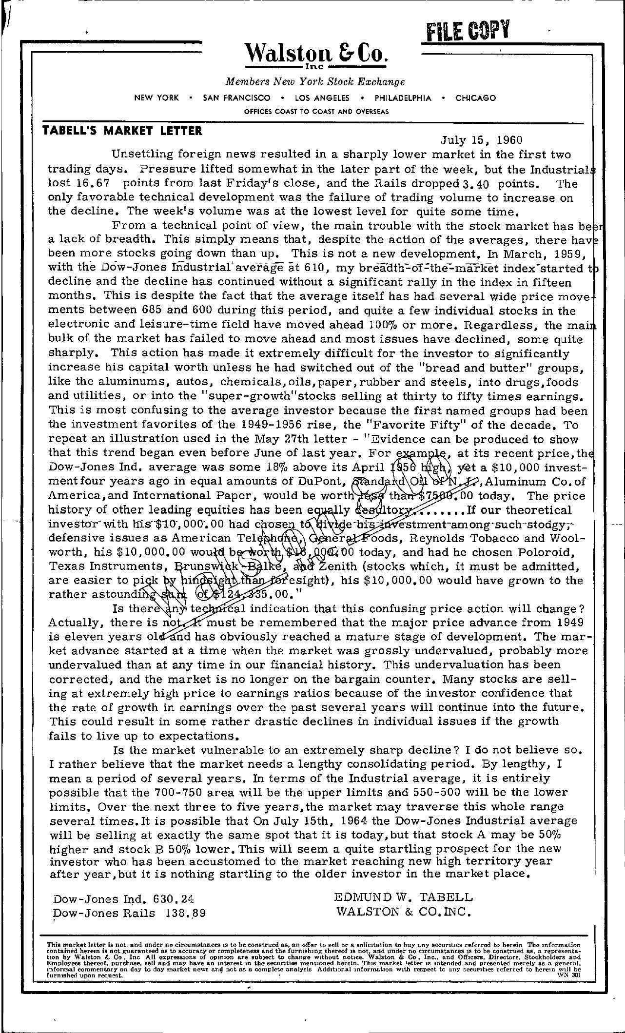 Tabell's Market Letter - July 15, 1960