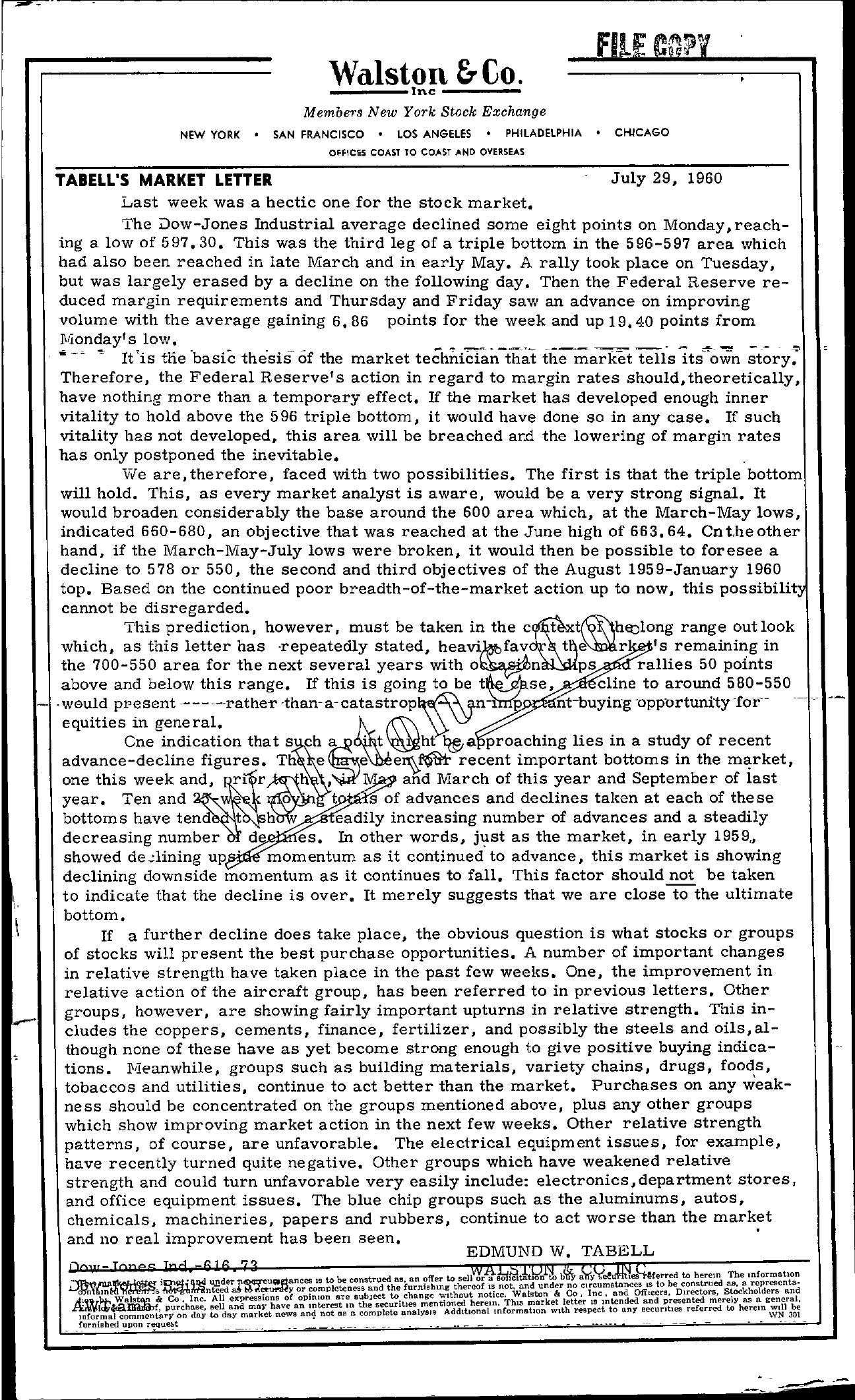 Tabell's Market Letter - July 29, 1960