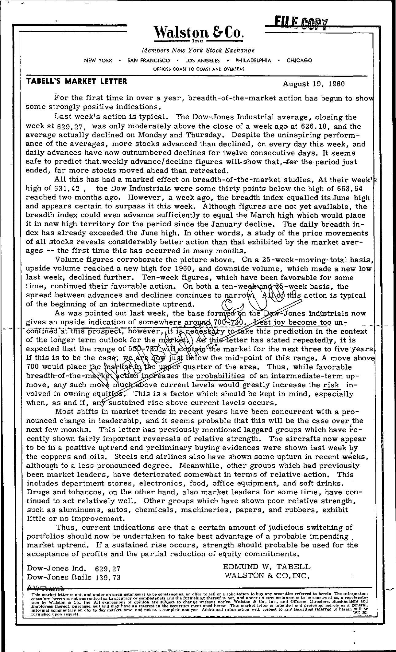 Tabell's Market Letter - August 19, 1960