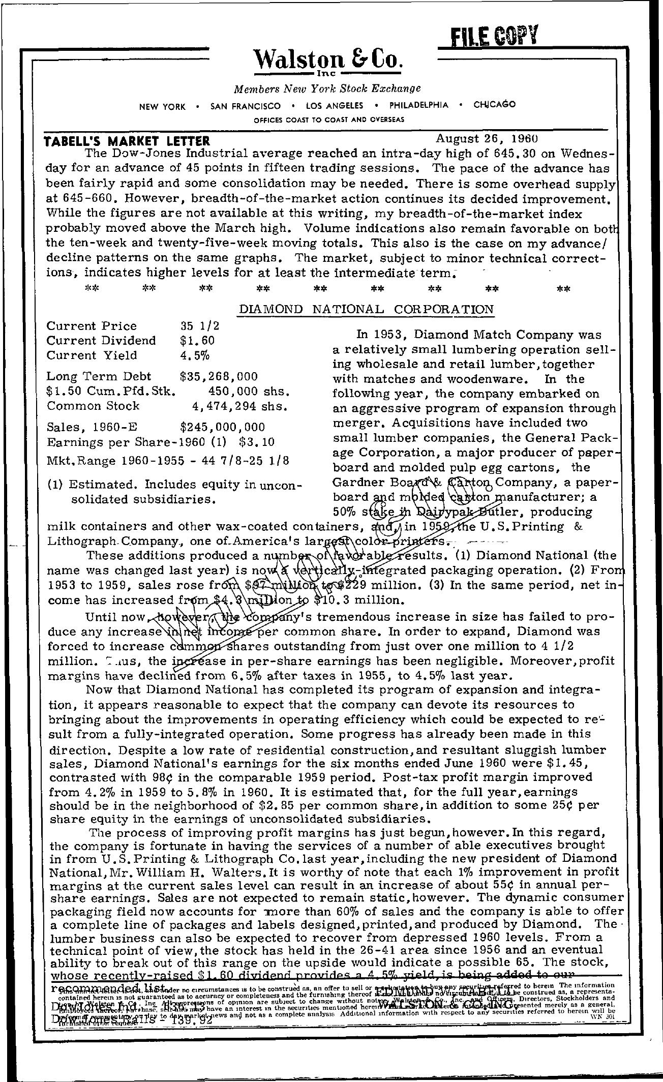 Tabell's Market Letter - August 26, 1960