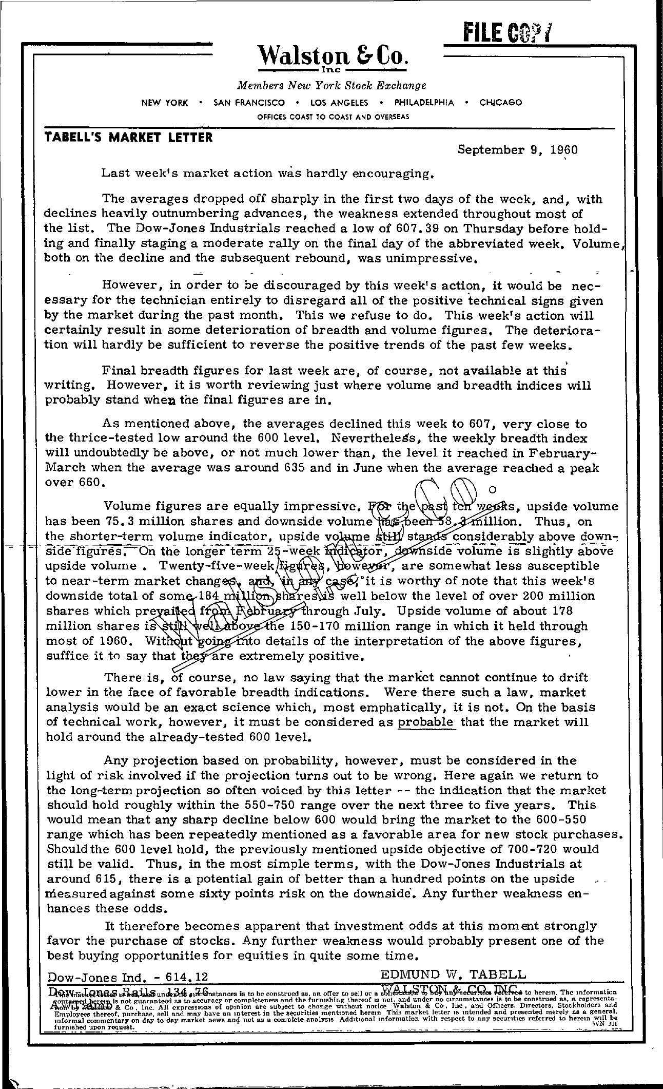 Tabell's Market Letter - September 09, 1960