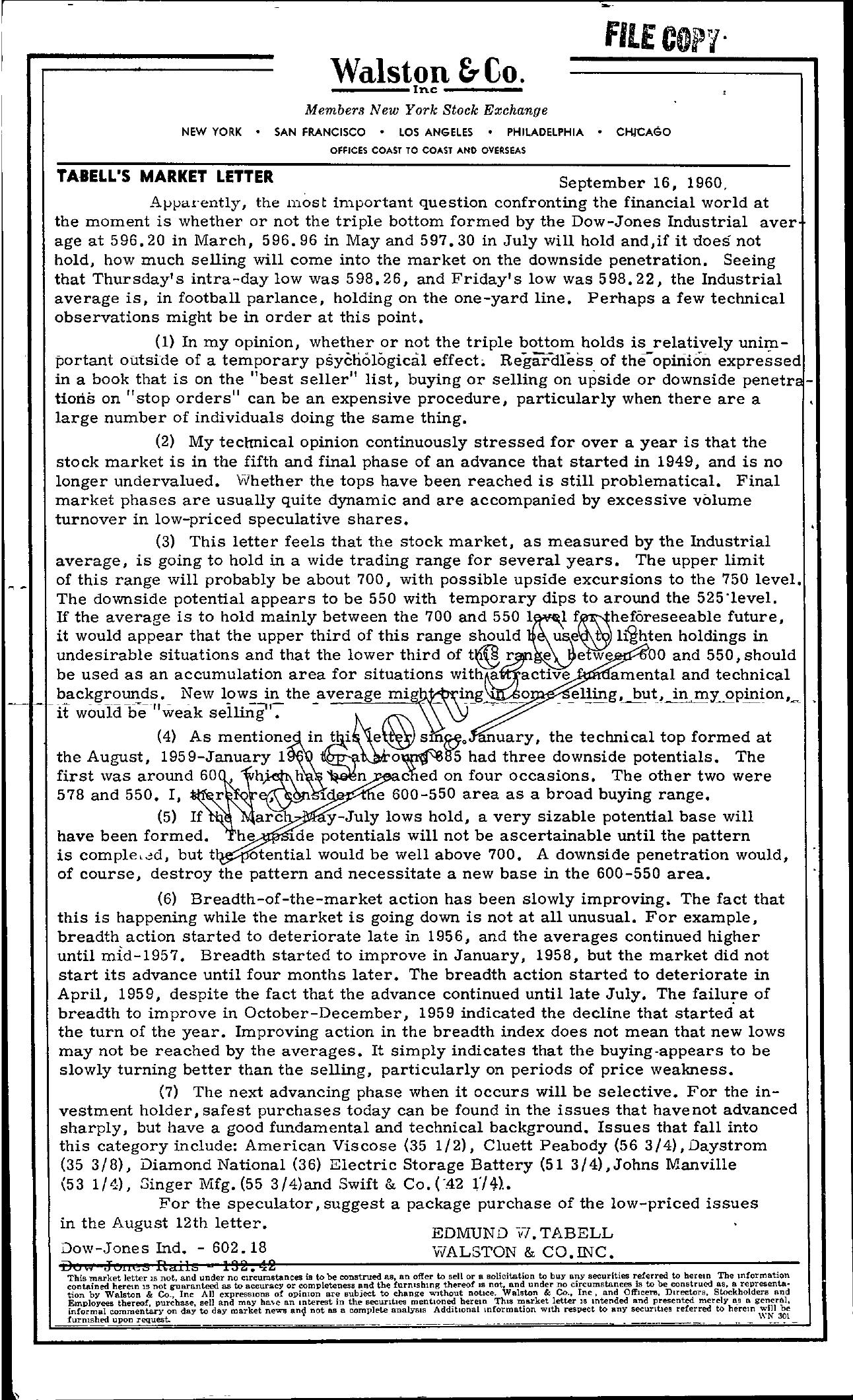 Tabell's Market Letter - September 16, 1960