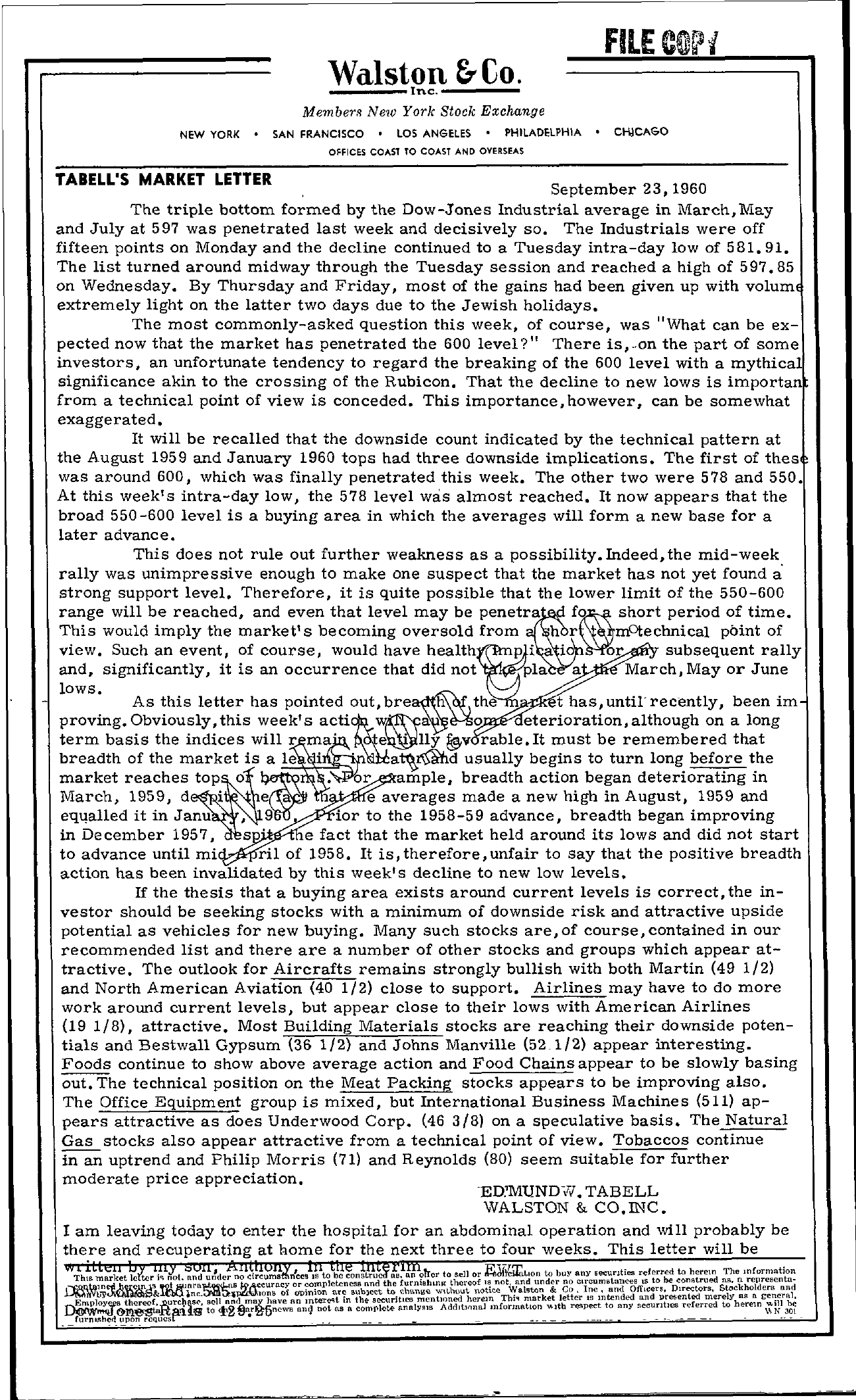 Tabell's Market Letter - September 23, 1960