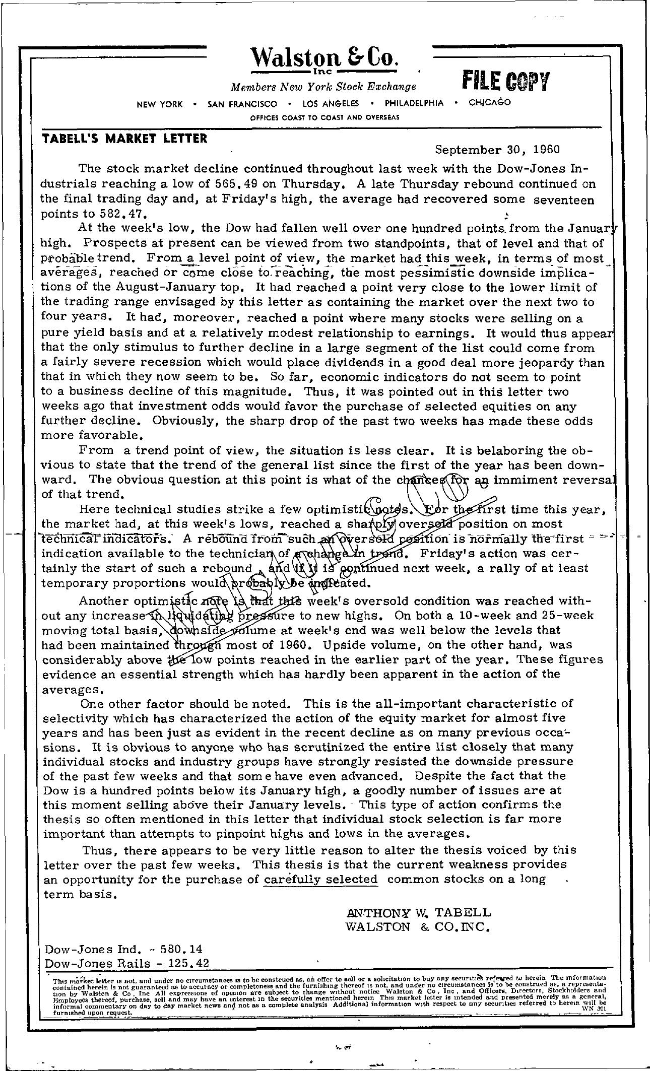 Tabell's Market Letter - September 30, 1960
