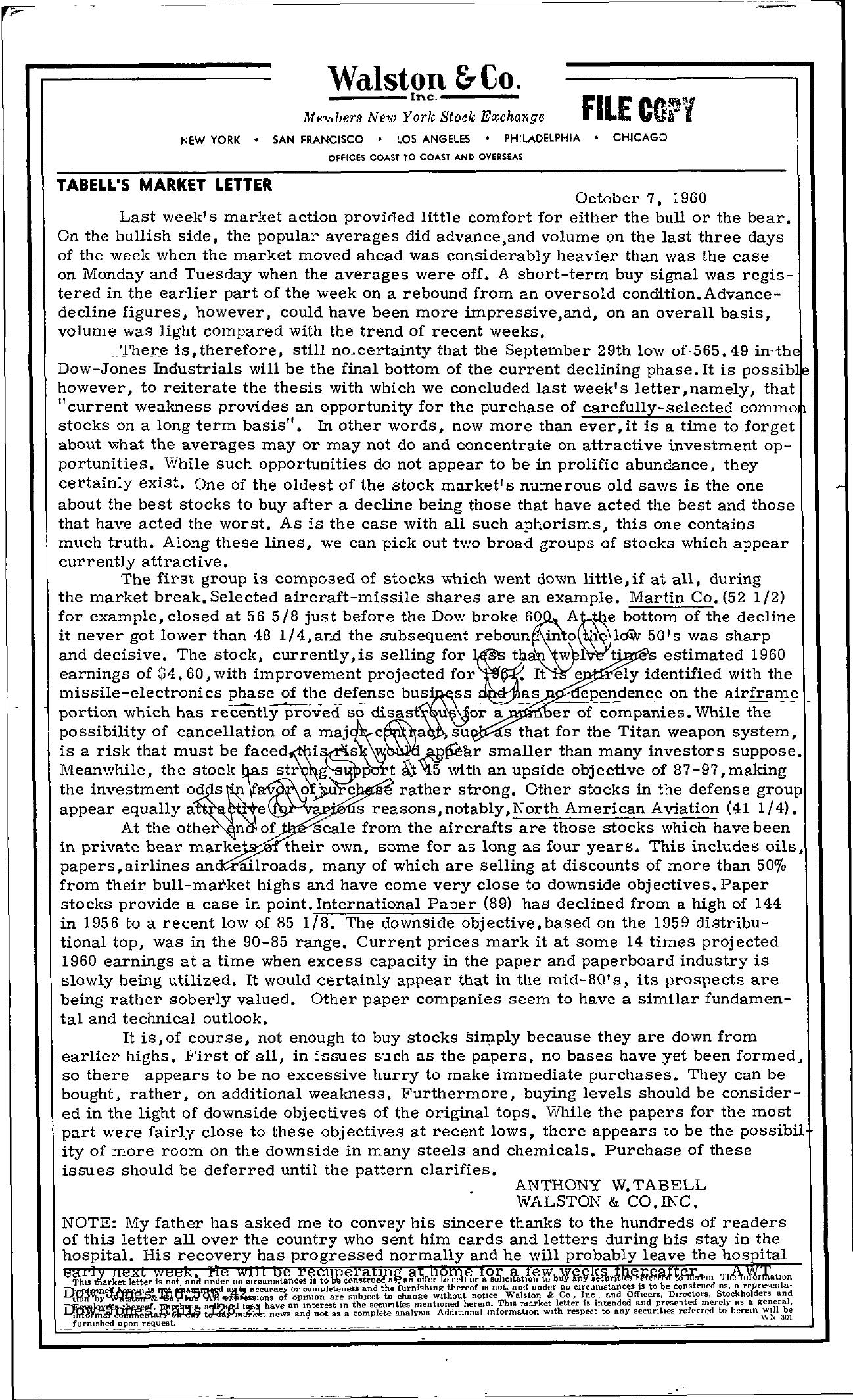 Tabell's Market Letter - October 07, 1960