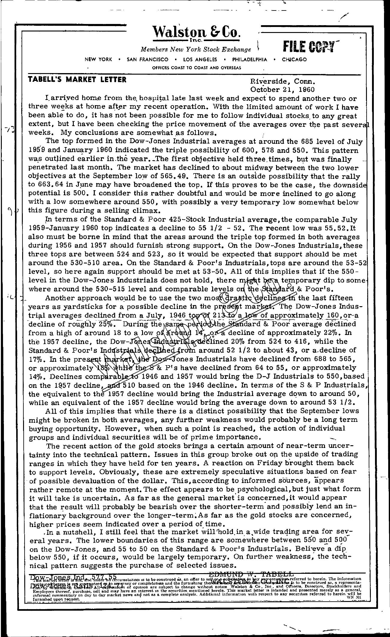 Tabell's Market Letter - October 21, 1960