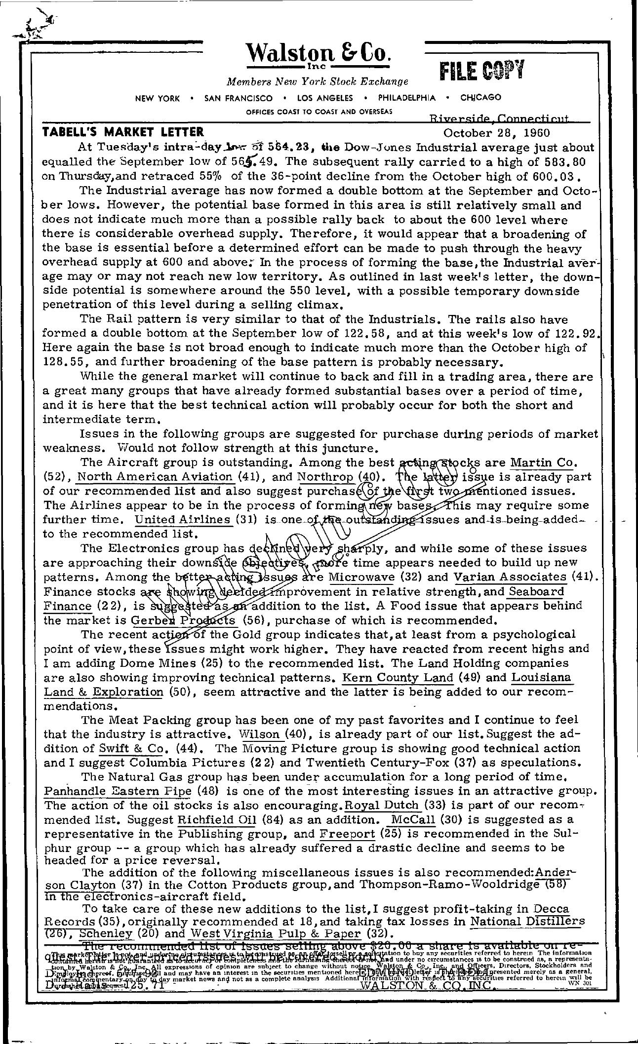 Tabell's Market Letter - October 28, 1960