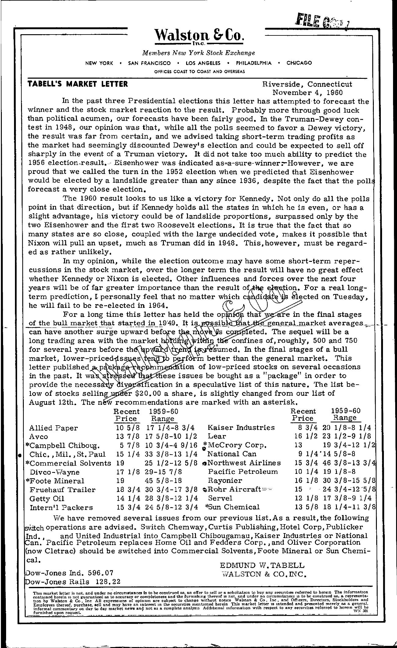 Tabell's Market Letter - November 04, 1960