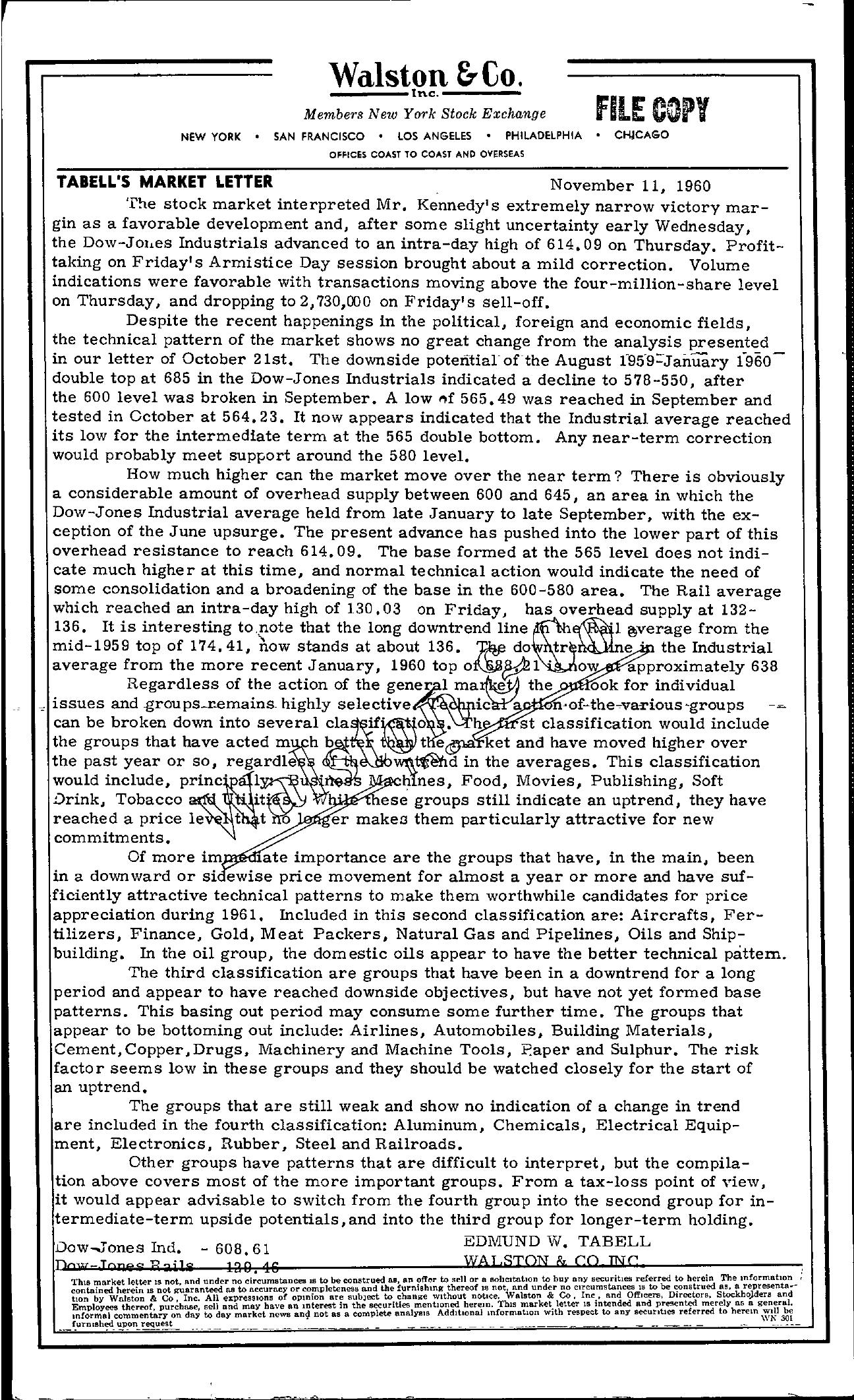 Tabell's Market Letter - November 11, 1960