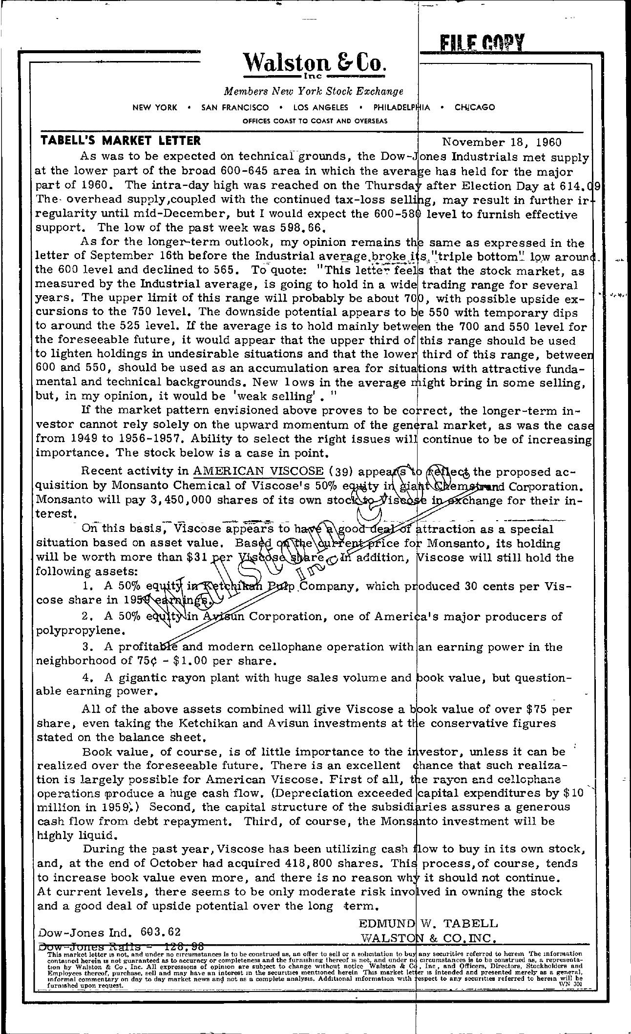 Tabell's Market Letter - November 18, 1960