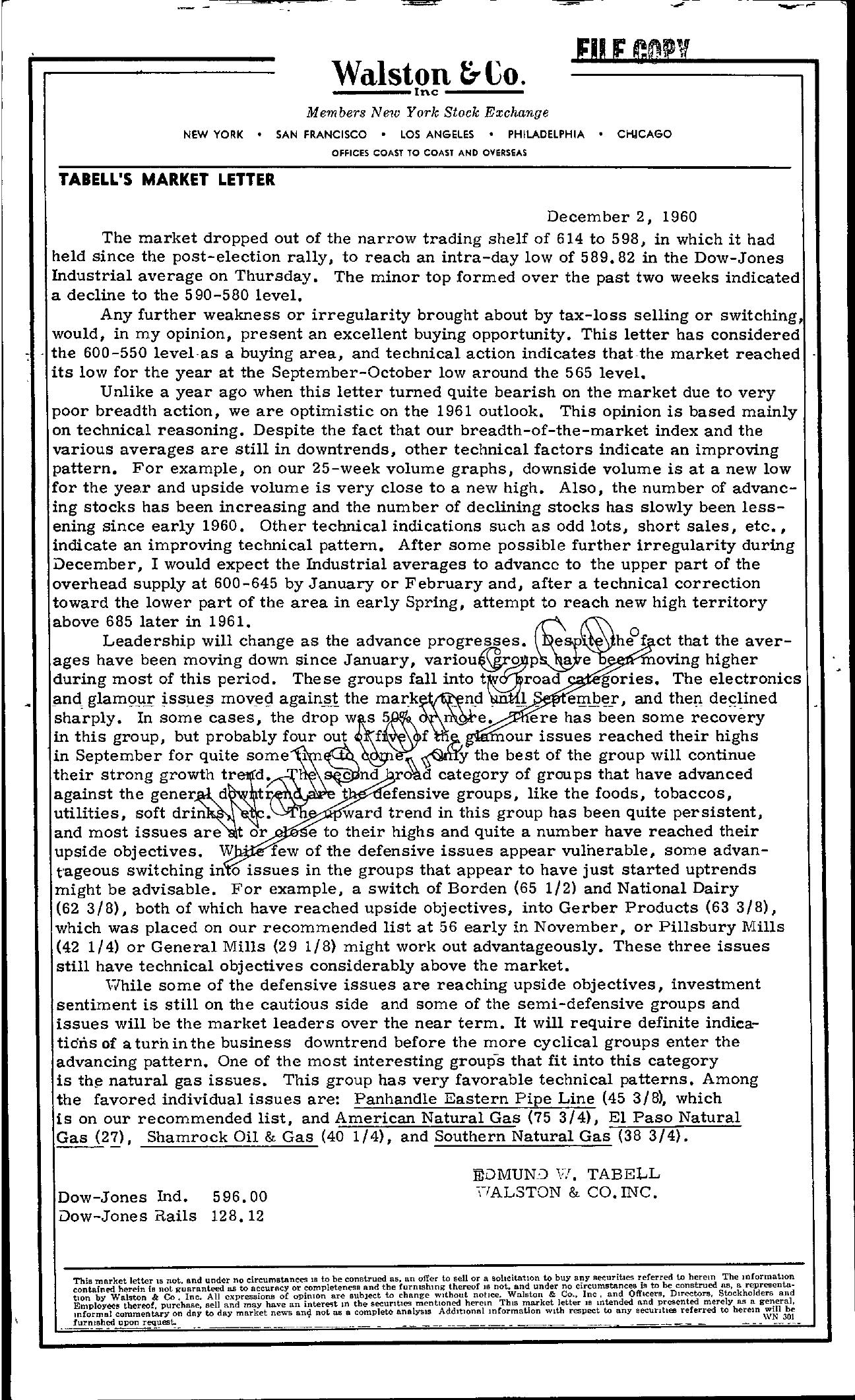 Tabell's Market Letter - December 02, 1960