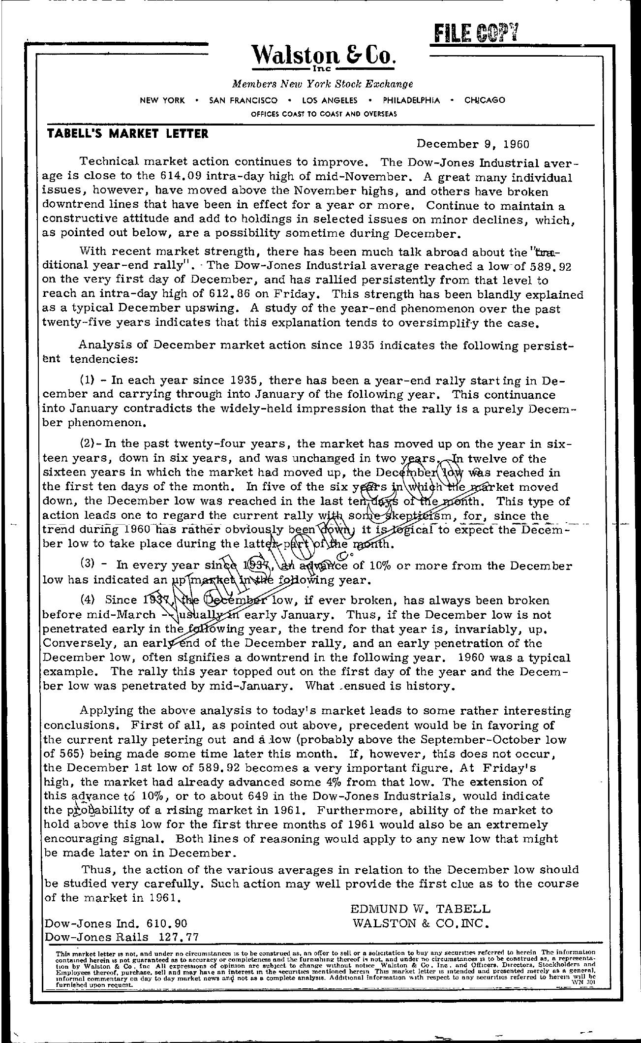 Tabell's Market Letter - December 09, 1960