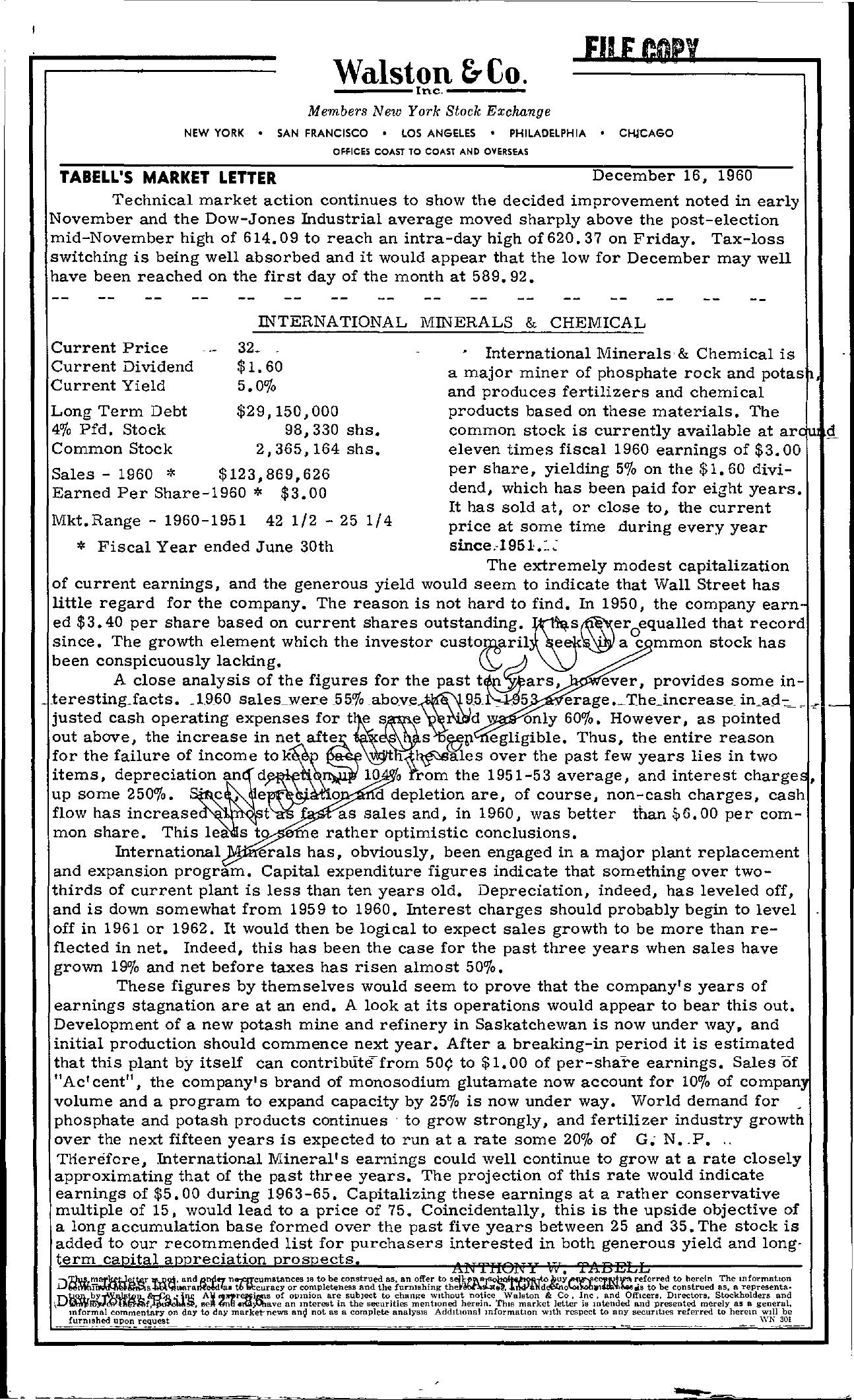 Tabell's Market Letter - December 16, 1960