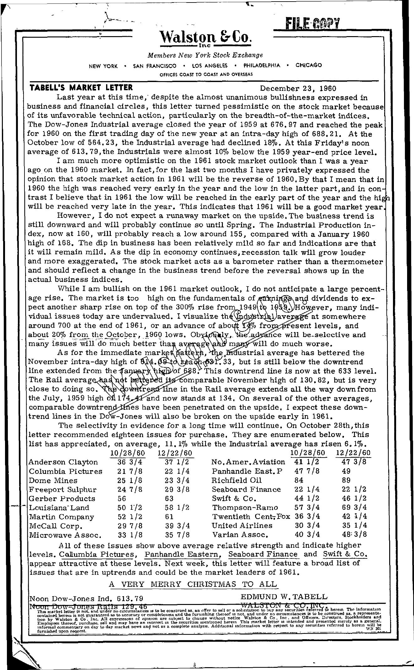 Tabell's Market Letter - December 23, 1960