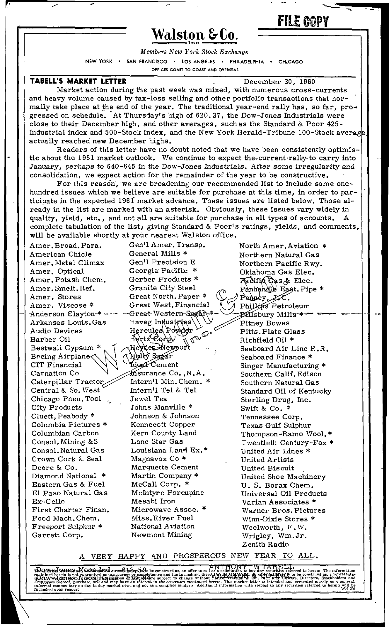 Tabell's Market Letter - December 30, 1960 page 1