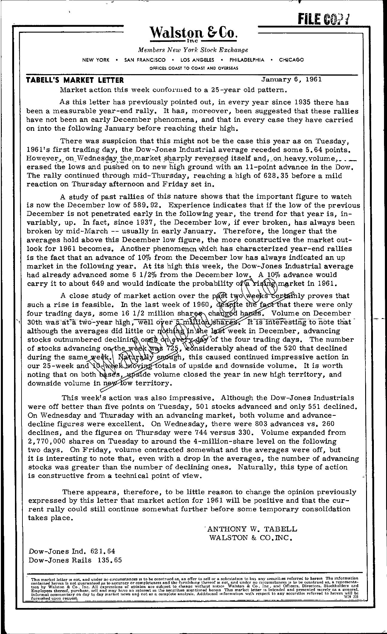 Tabell's Market Letter - January 06, 1961