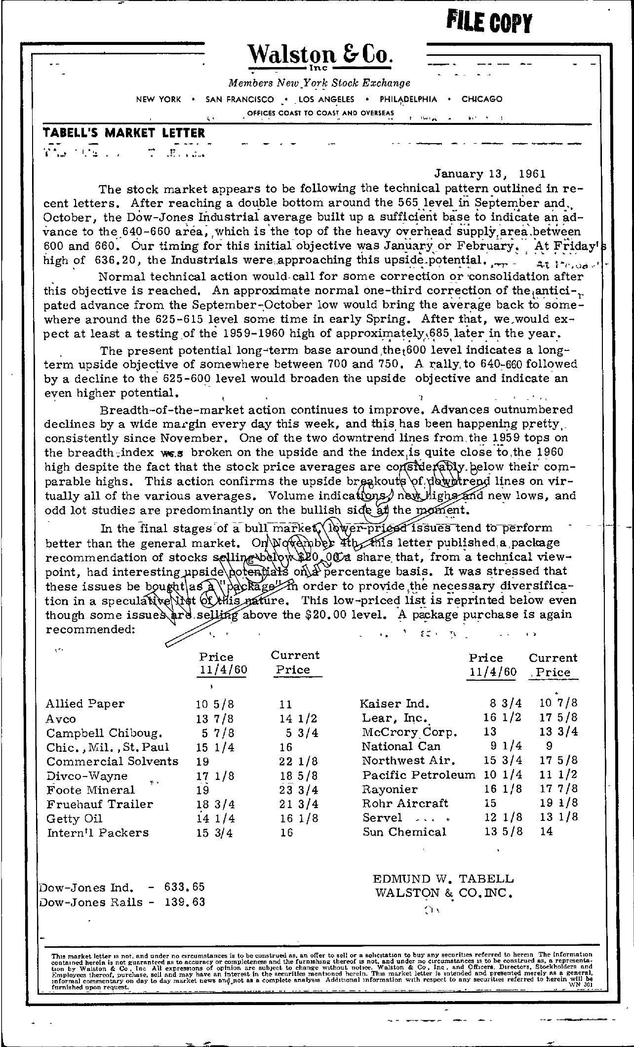 Tabell's Market Letter - January 13, 1961