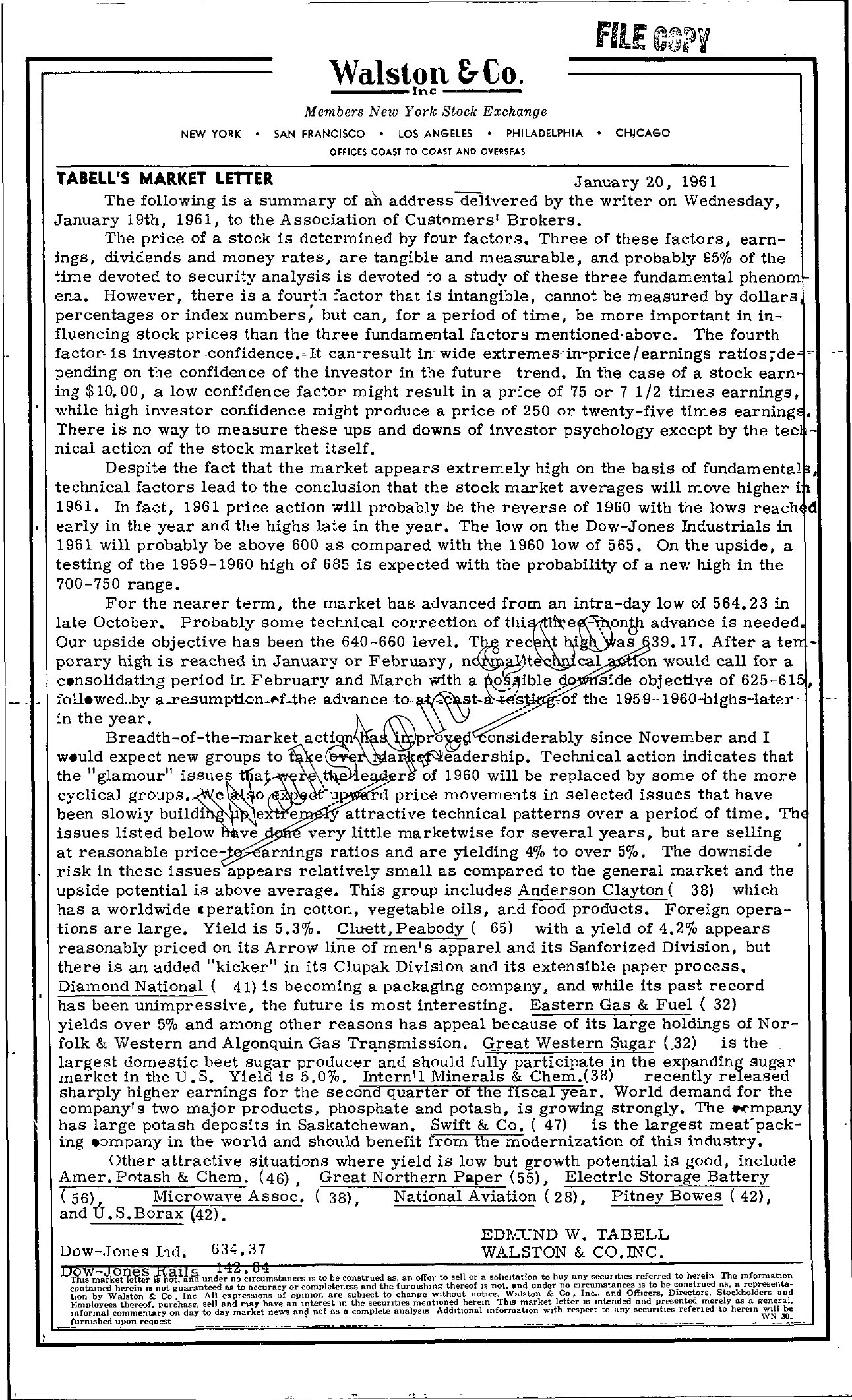 Tabell's Market Letter - January 20, 1961