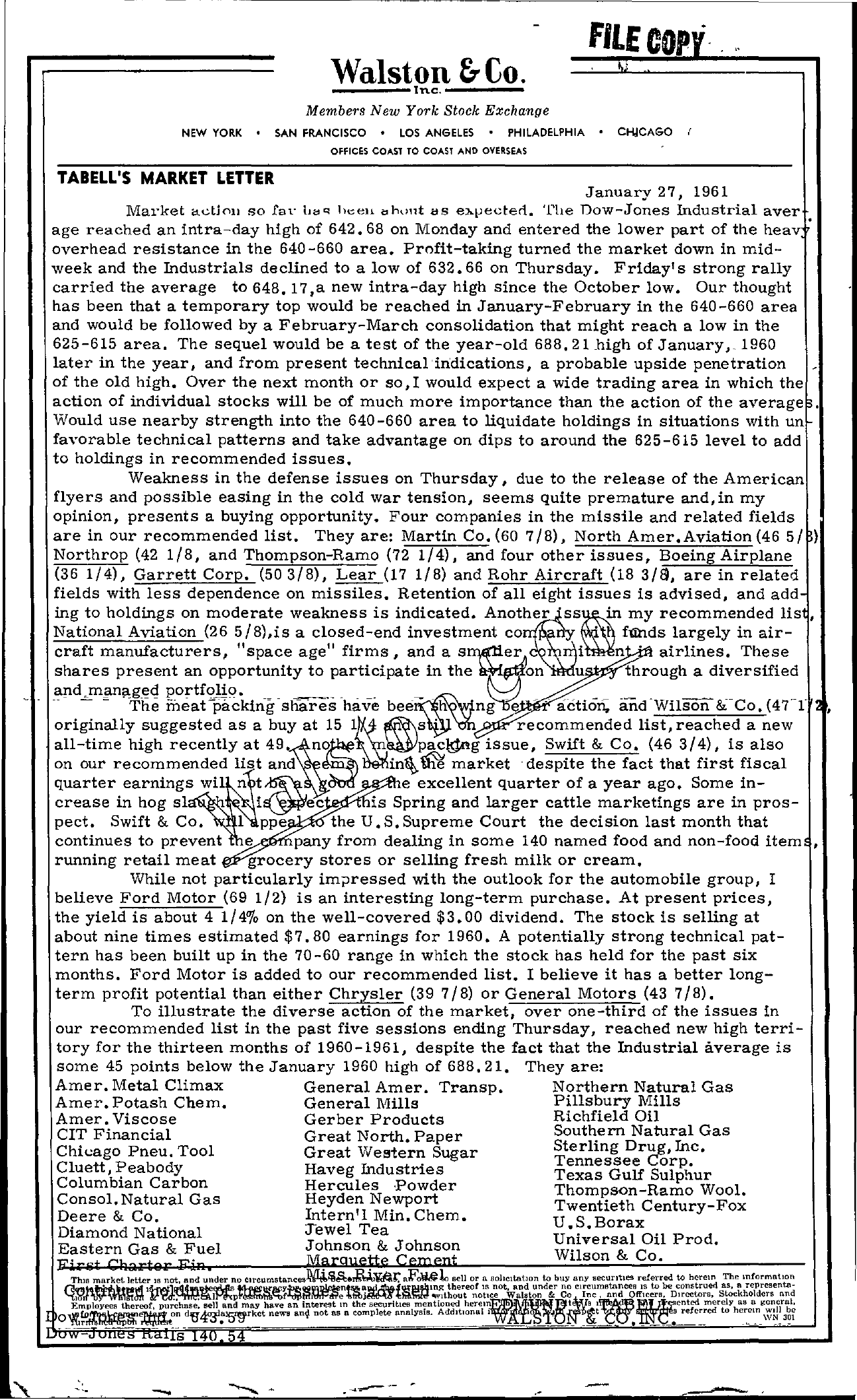 Tabell's Market Letter - January 27, 1961