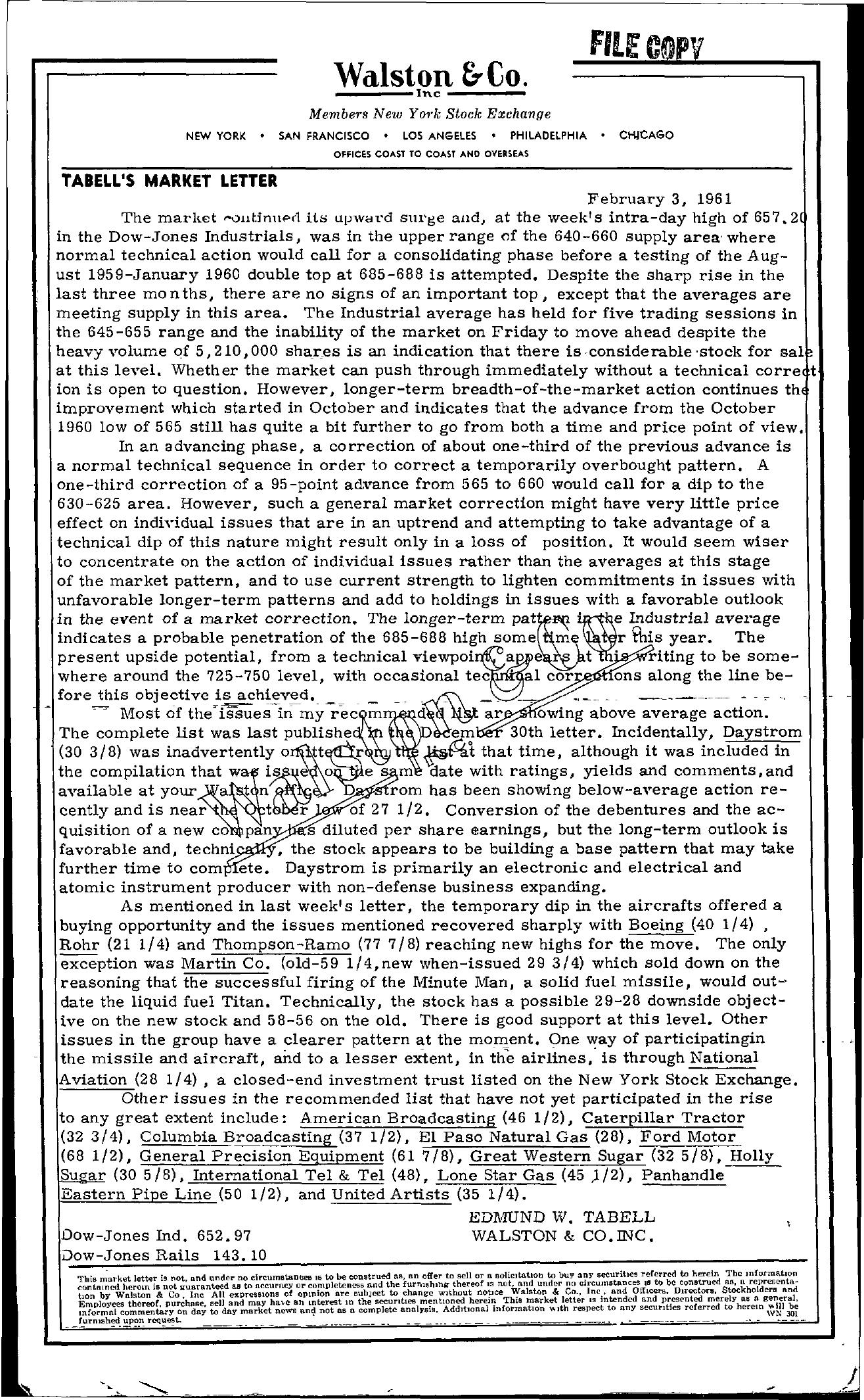 Tabell's Market Letter - February 03, 1961