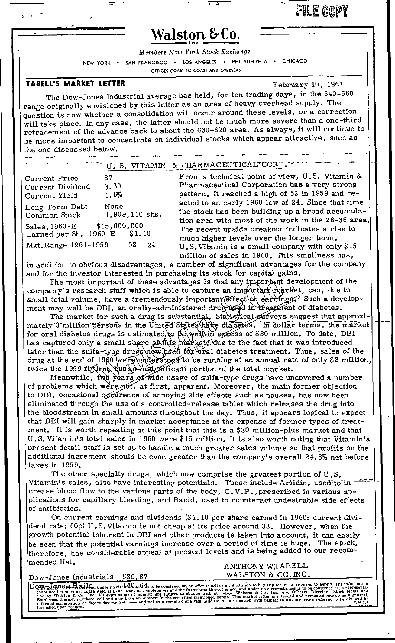 Tabell's Market Letter - February 10, 1961