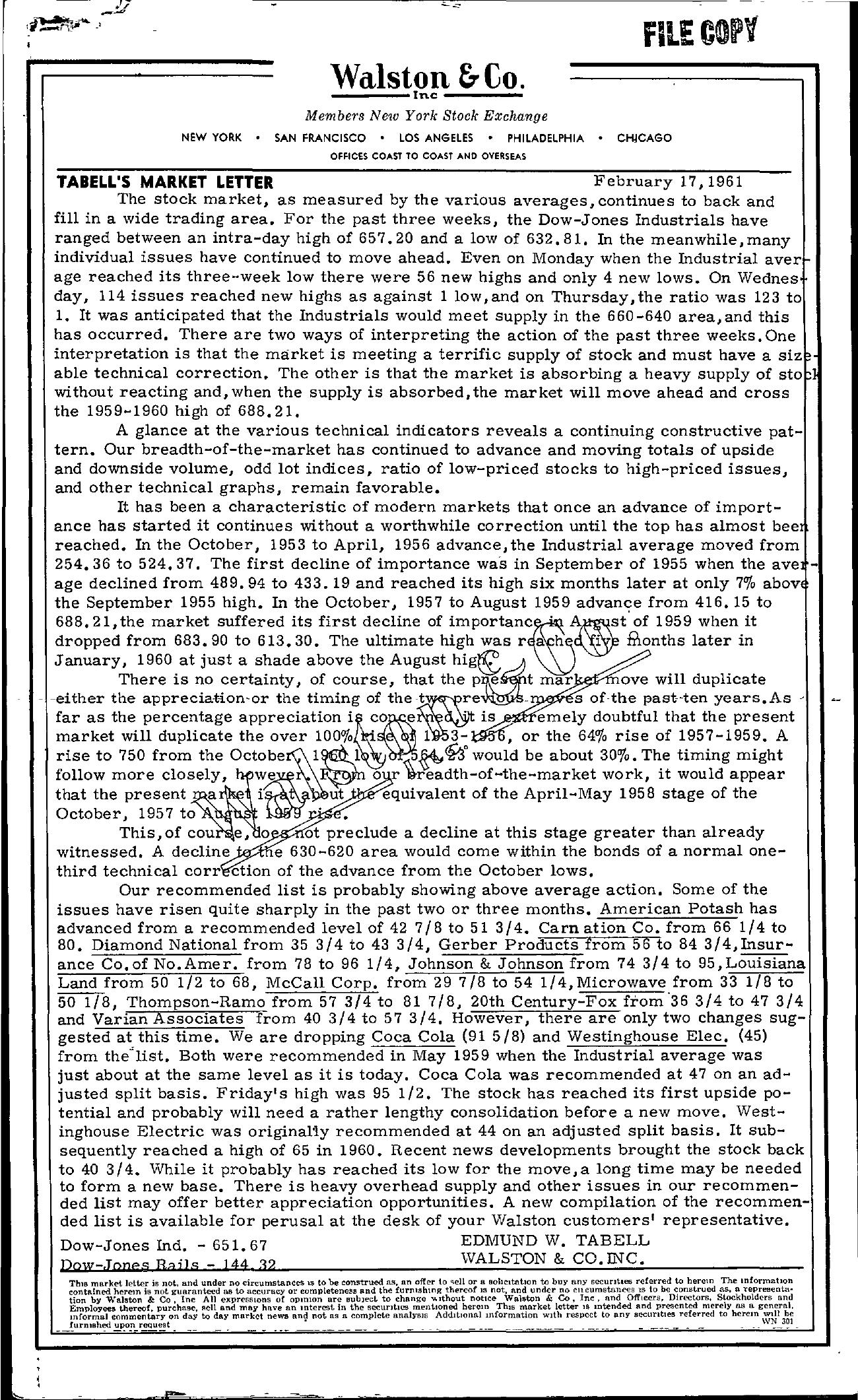 Tabell's Market Letter - February 17, 1961