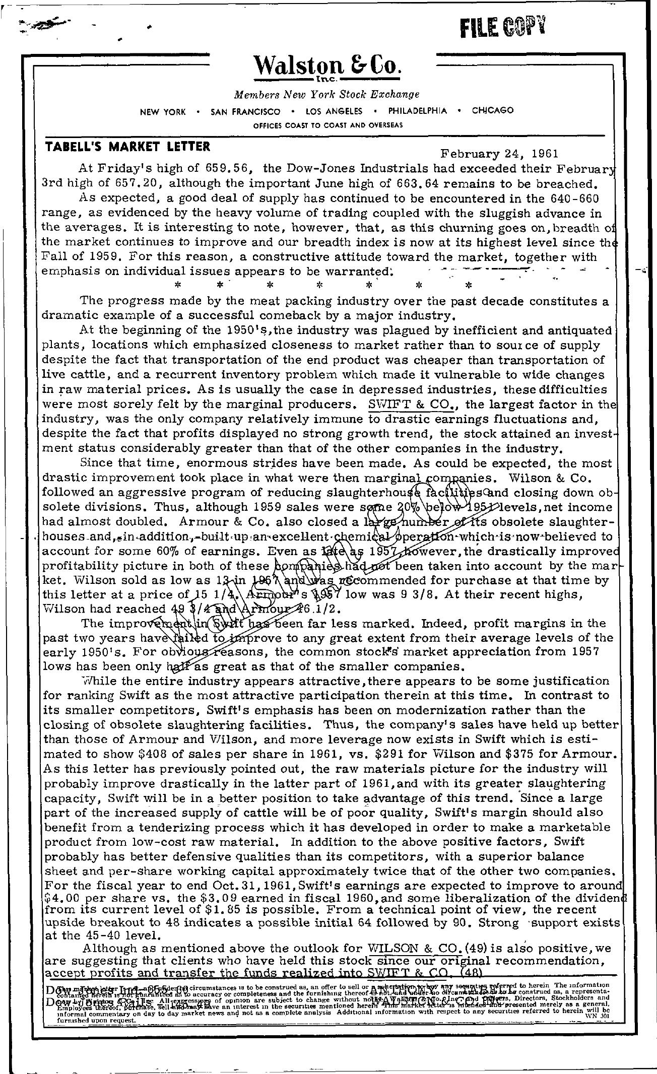 Tabell's Market Letter - February 24, 1961