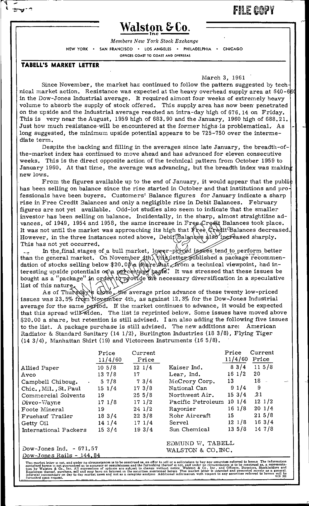 Tabell's Market Letter - March 03, 1961