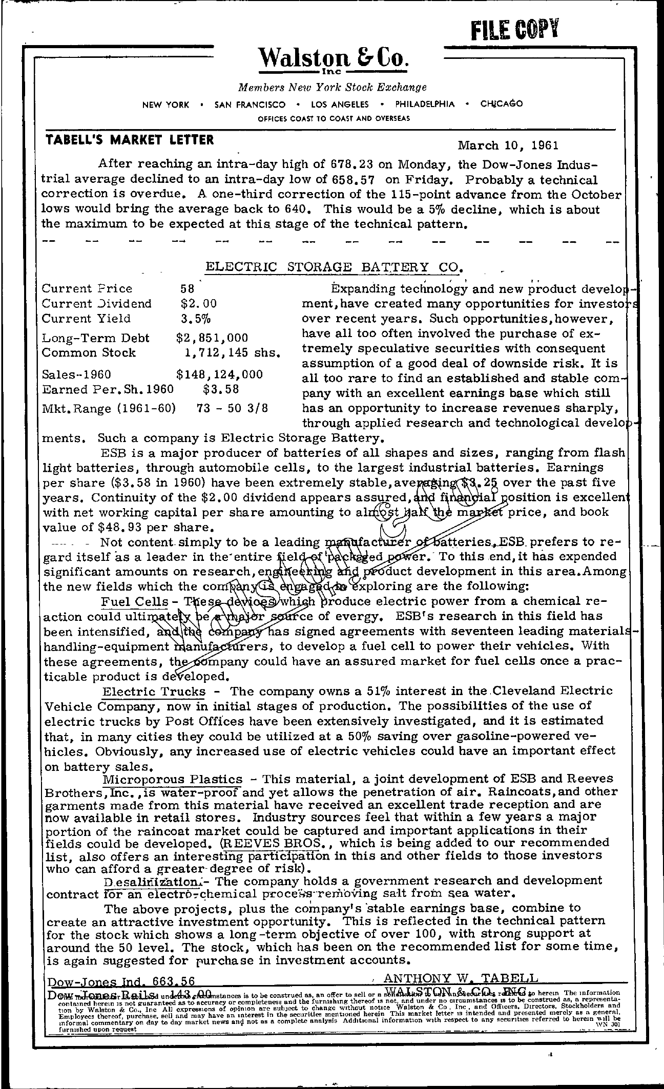Tabell's Market Letter - March 10, 1961