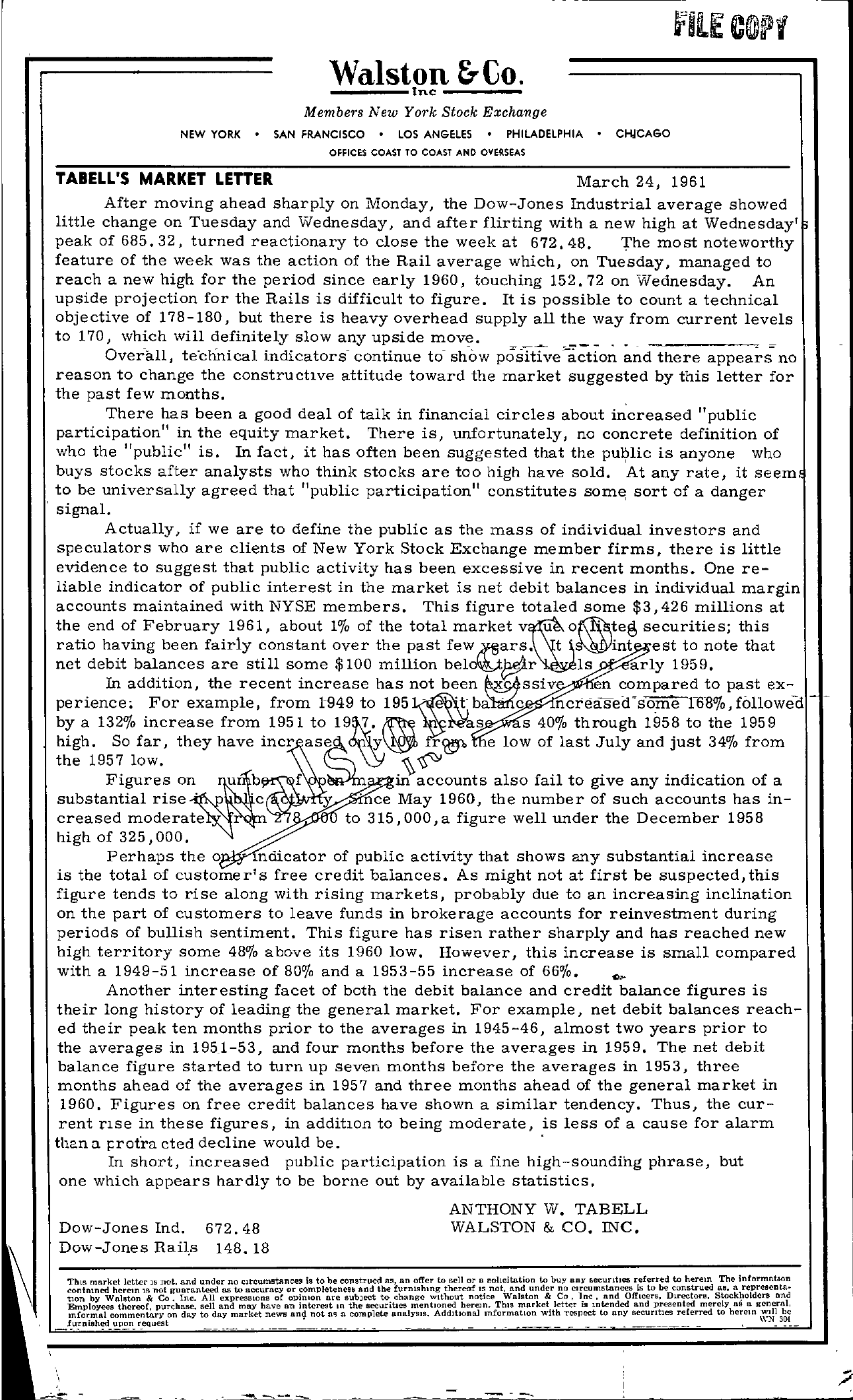 Tabell's Market Letter - March 24, 1961