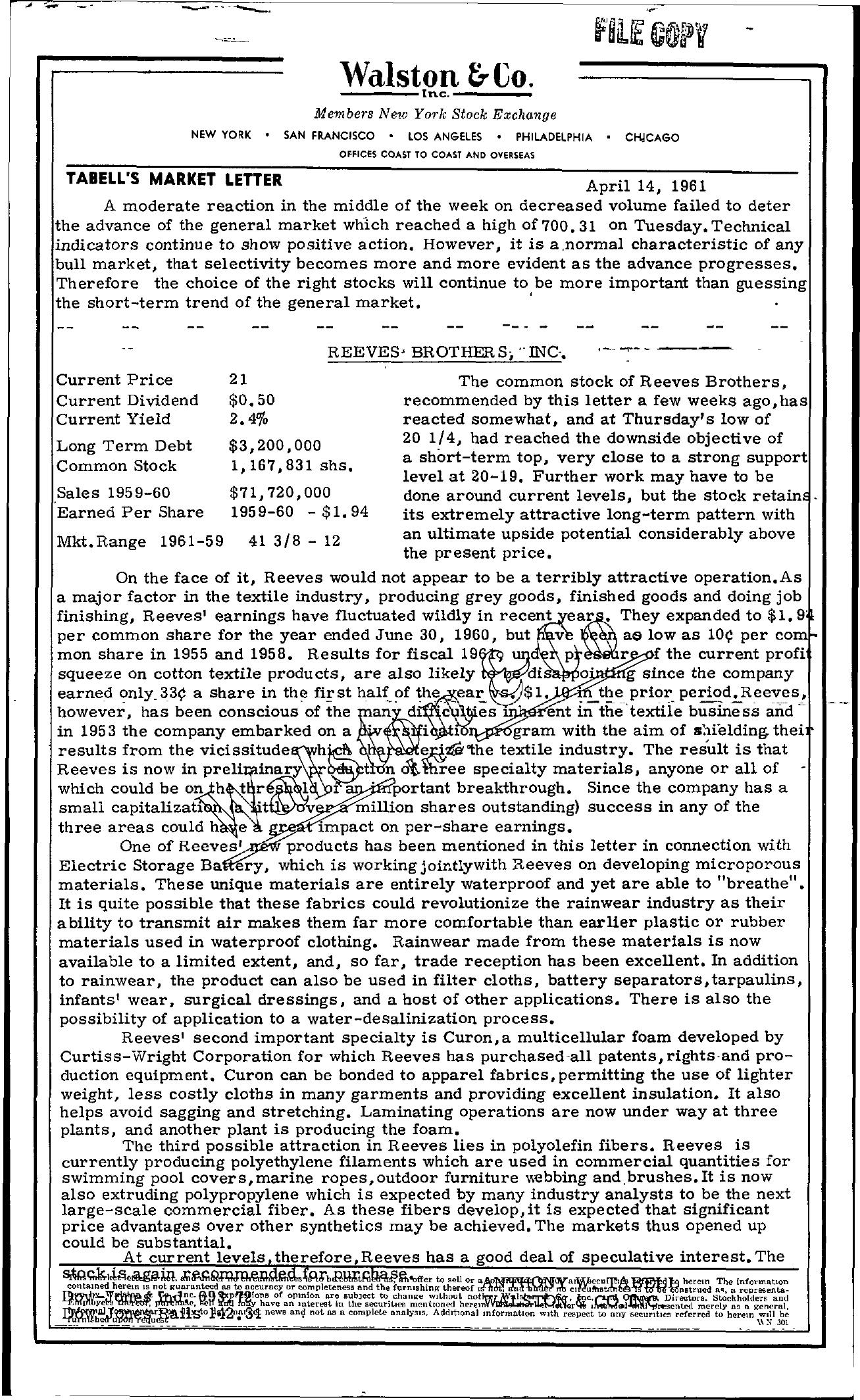 Tabell's Market Letter - April 14, 1961
