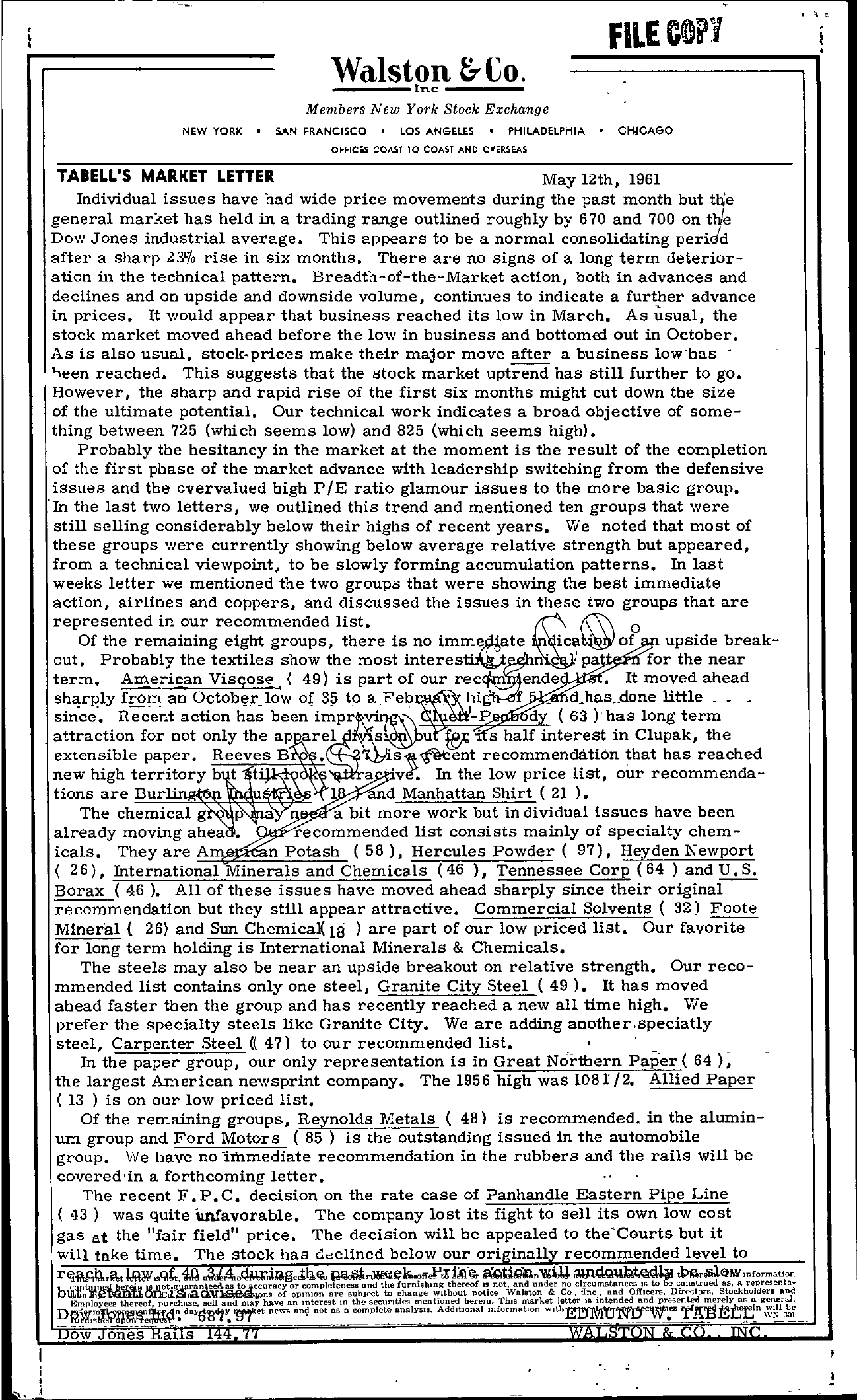 Tabell's Market Letter - May 12, 1961