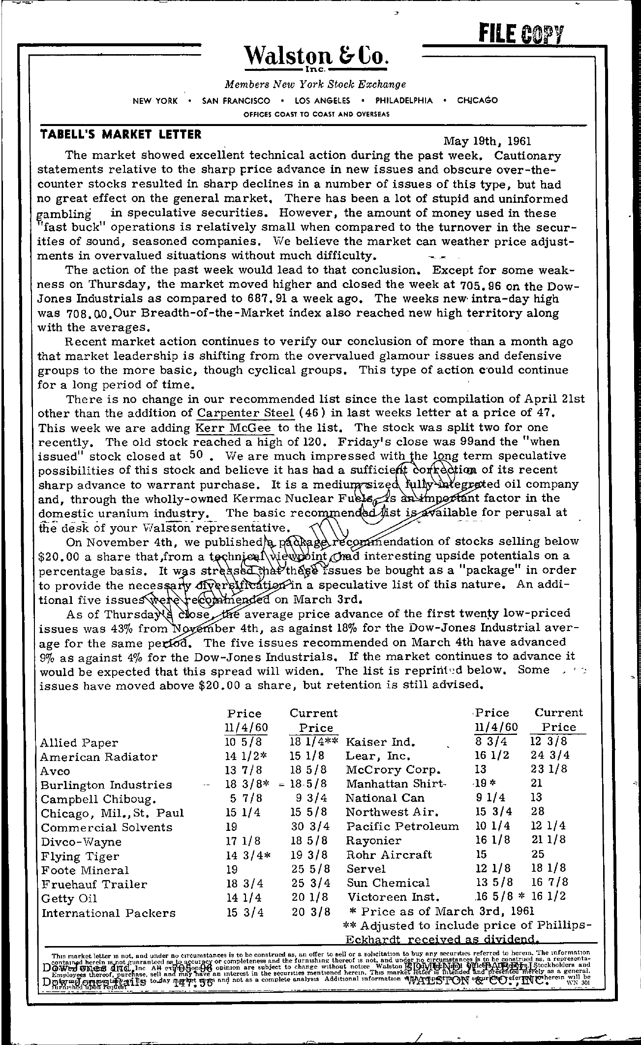 Tabell's Market Letter - May 19, 1961