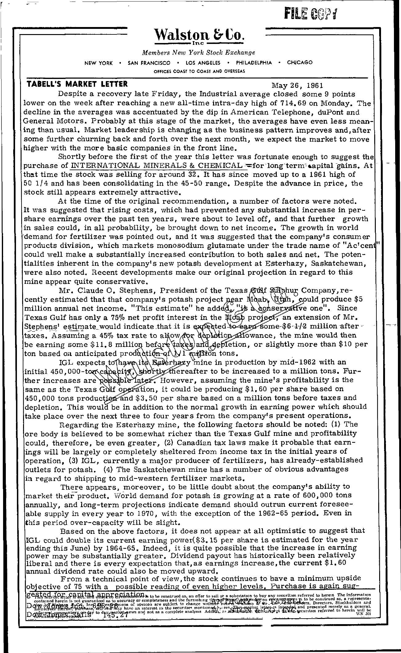 Tabell's Market Letter - May 26, 1961