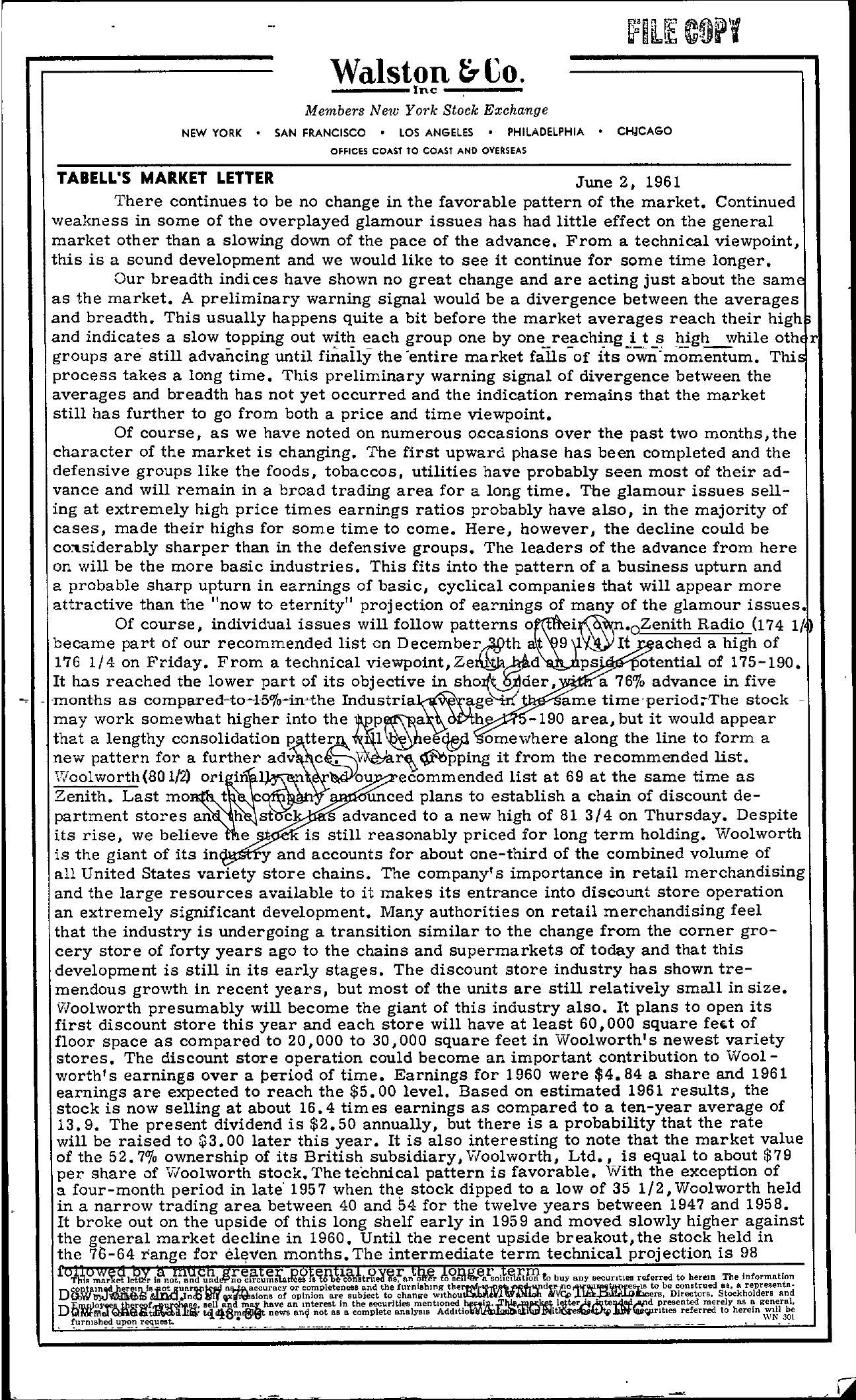 Tabell's Market Letter - June 02, 1961