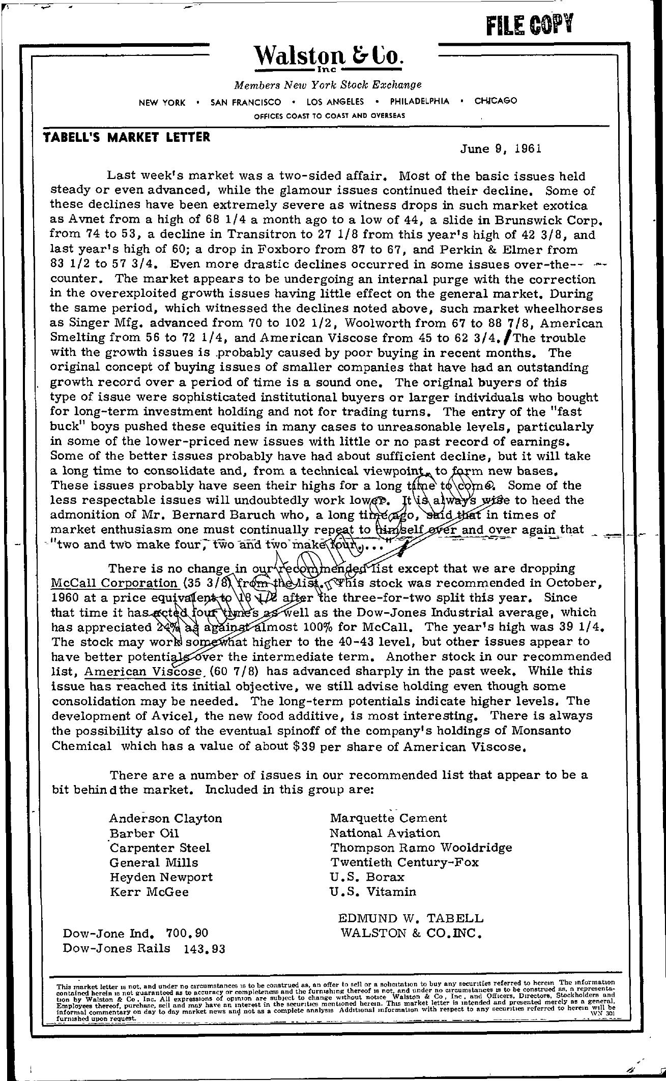 Tabell's Market Letter - June 09, 1961