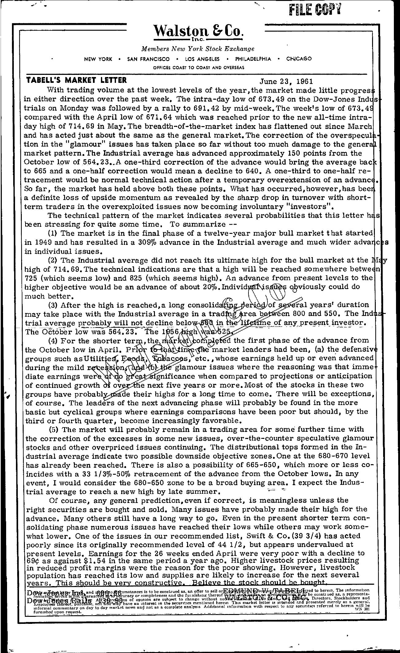 Tabell's Market Letter - June 23, 1961