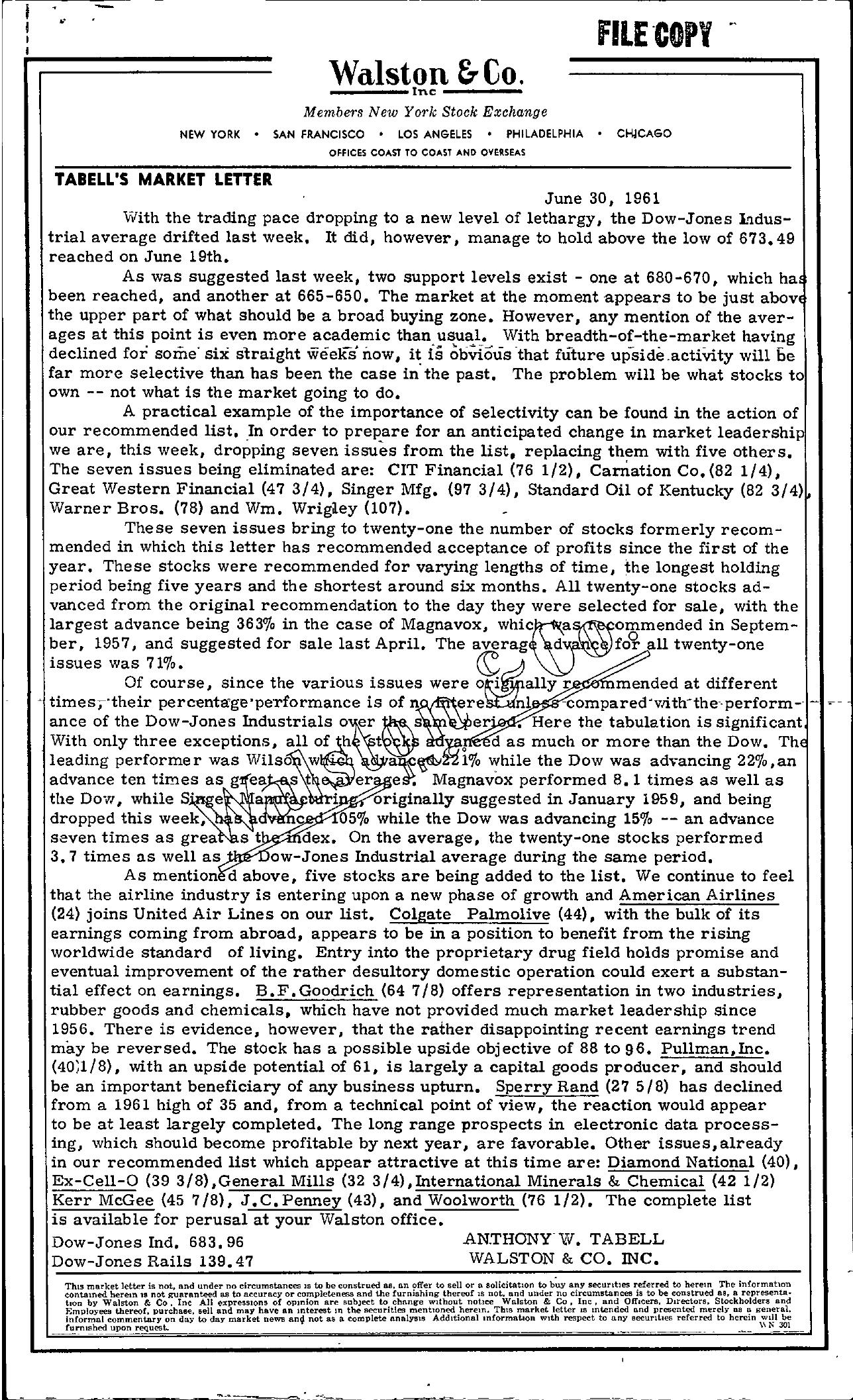 Tabell's Market Letter - June 30, 1961 page 1