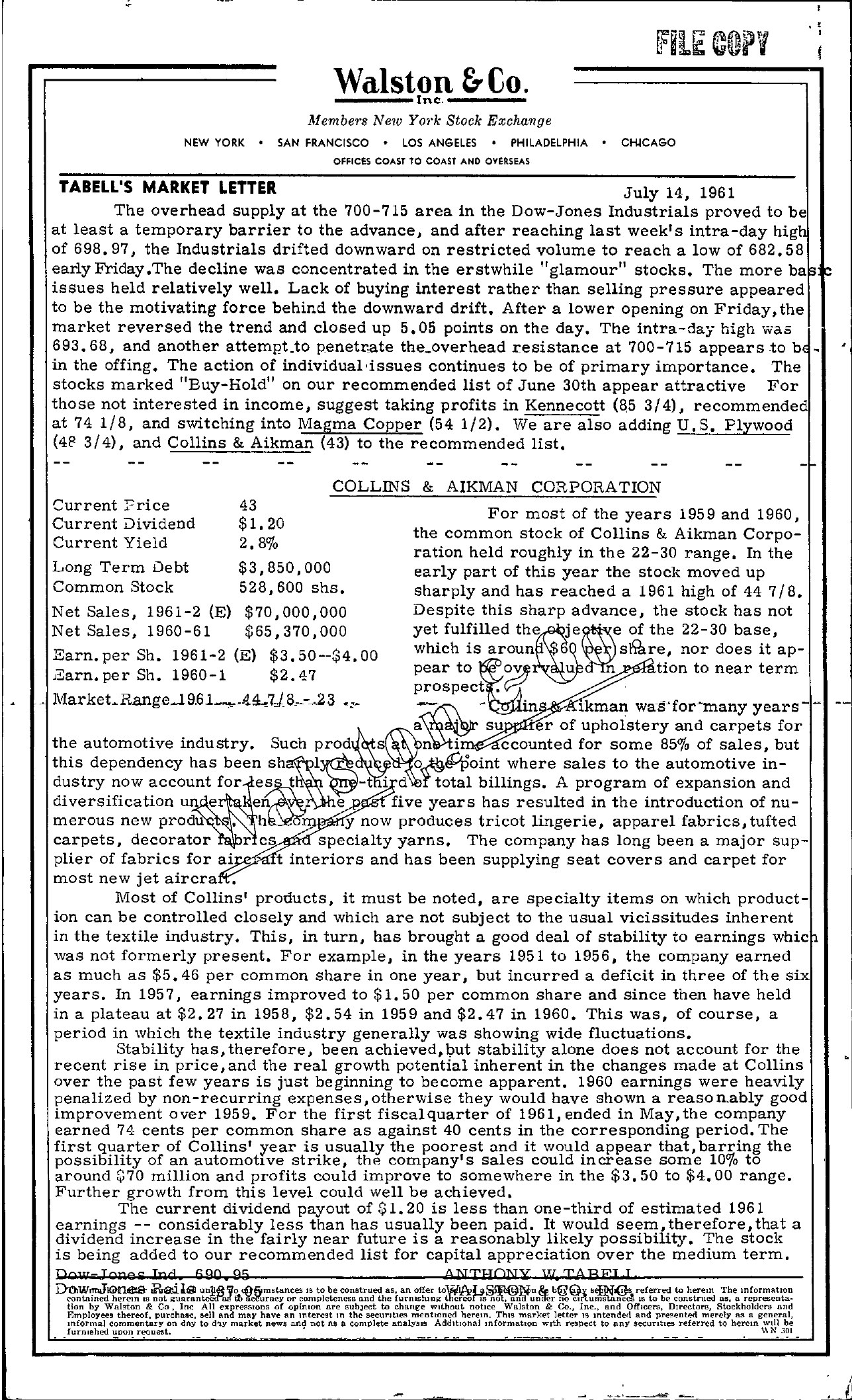 Tabell's Market Letter - July 14, 1961