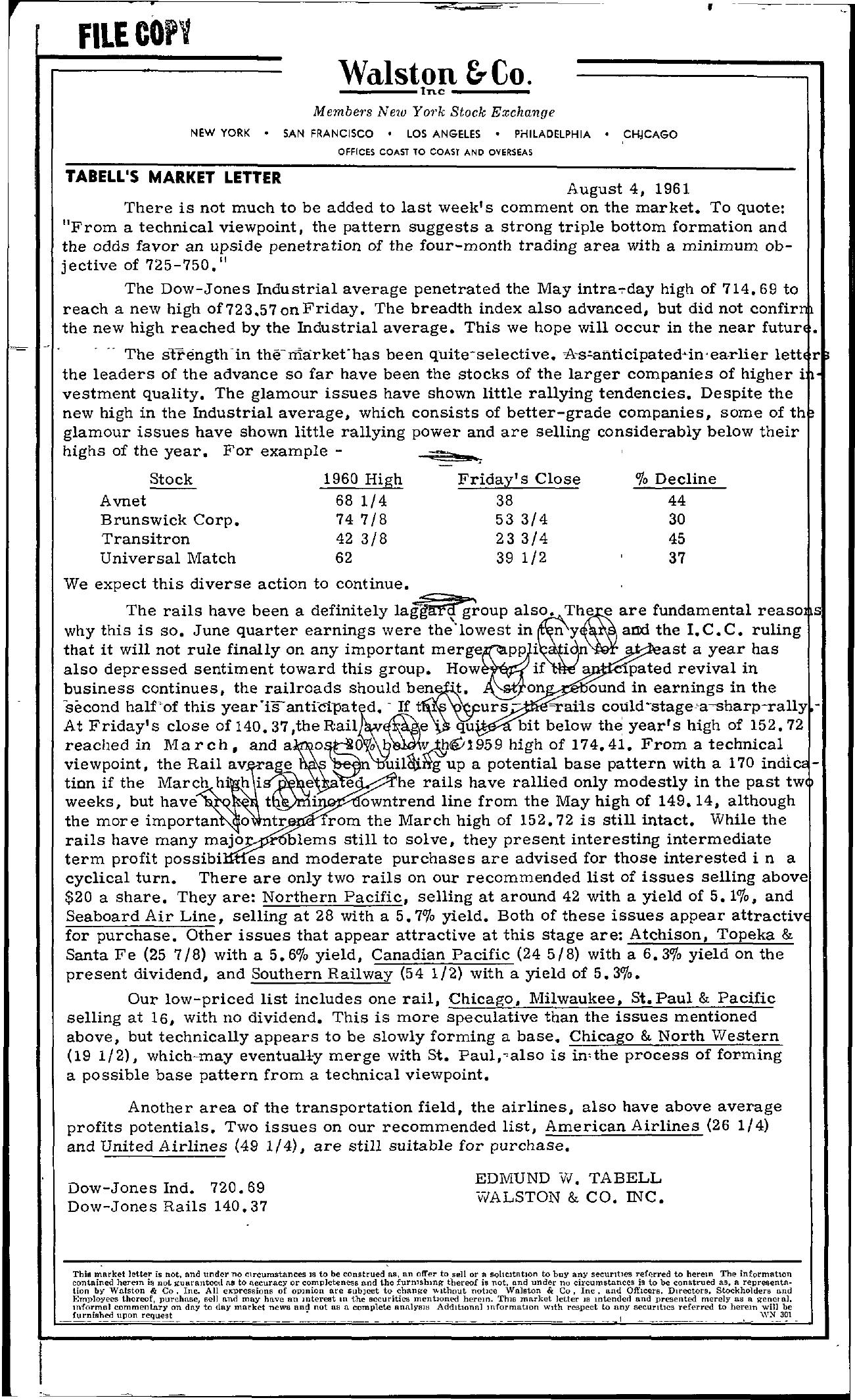 Tabell's Market Letter - August 04, 1961