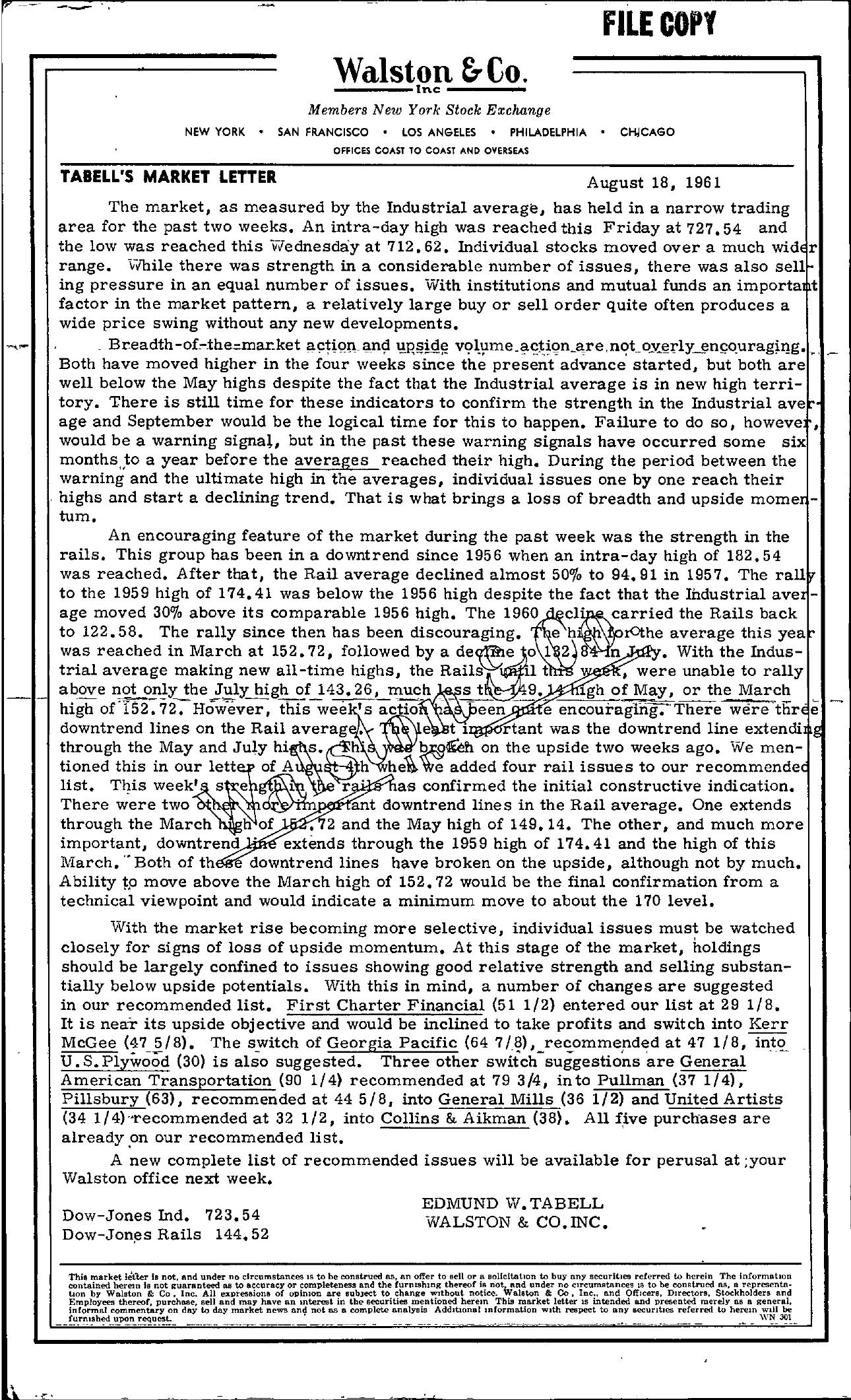 Tabell's Market Letter - August 18, 1961
