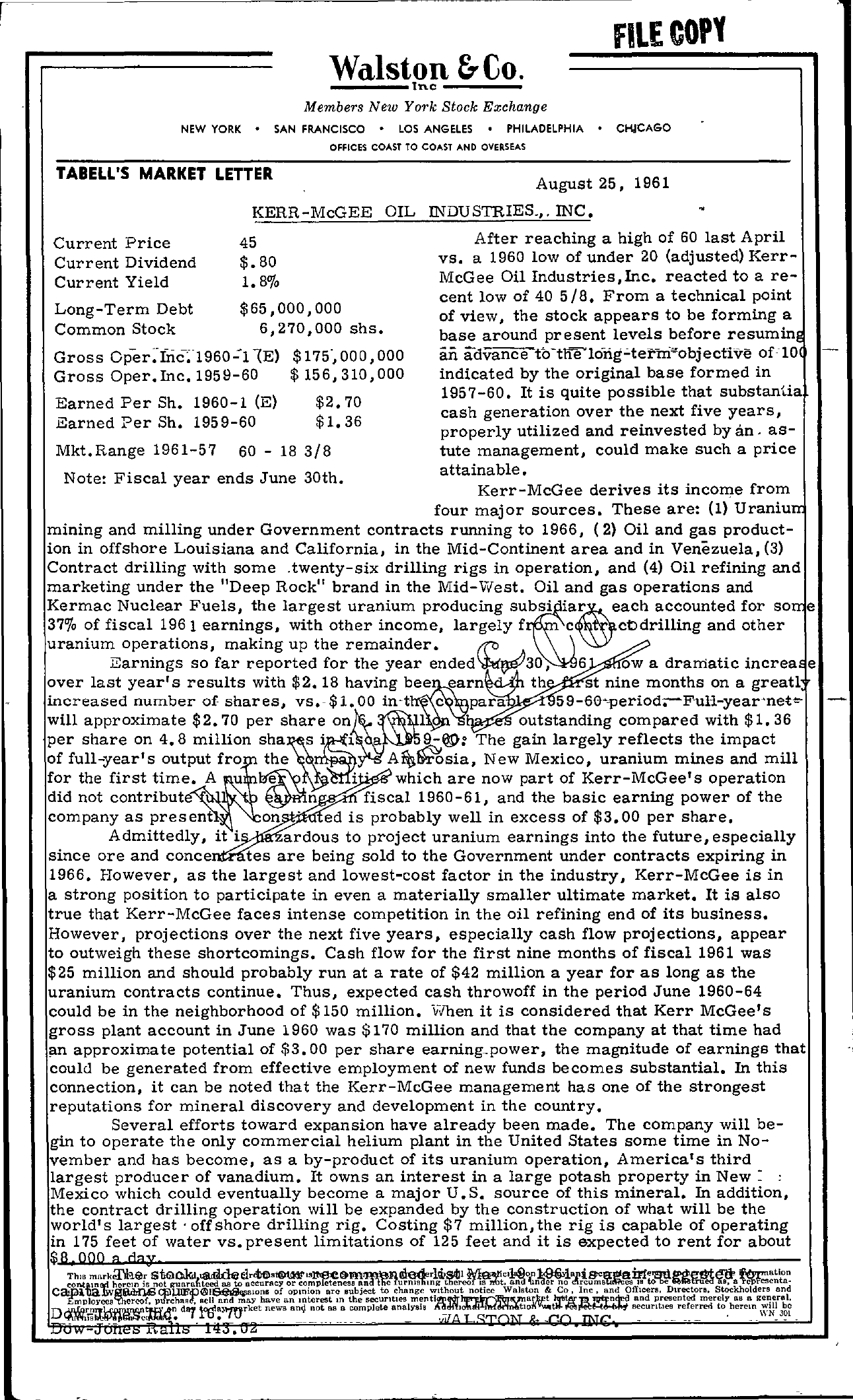 Tabell's Market Letter - August 25, 1961