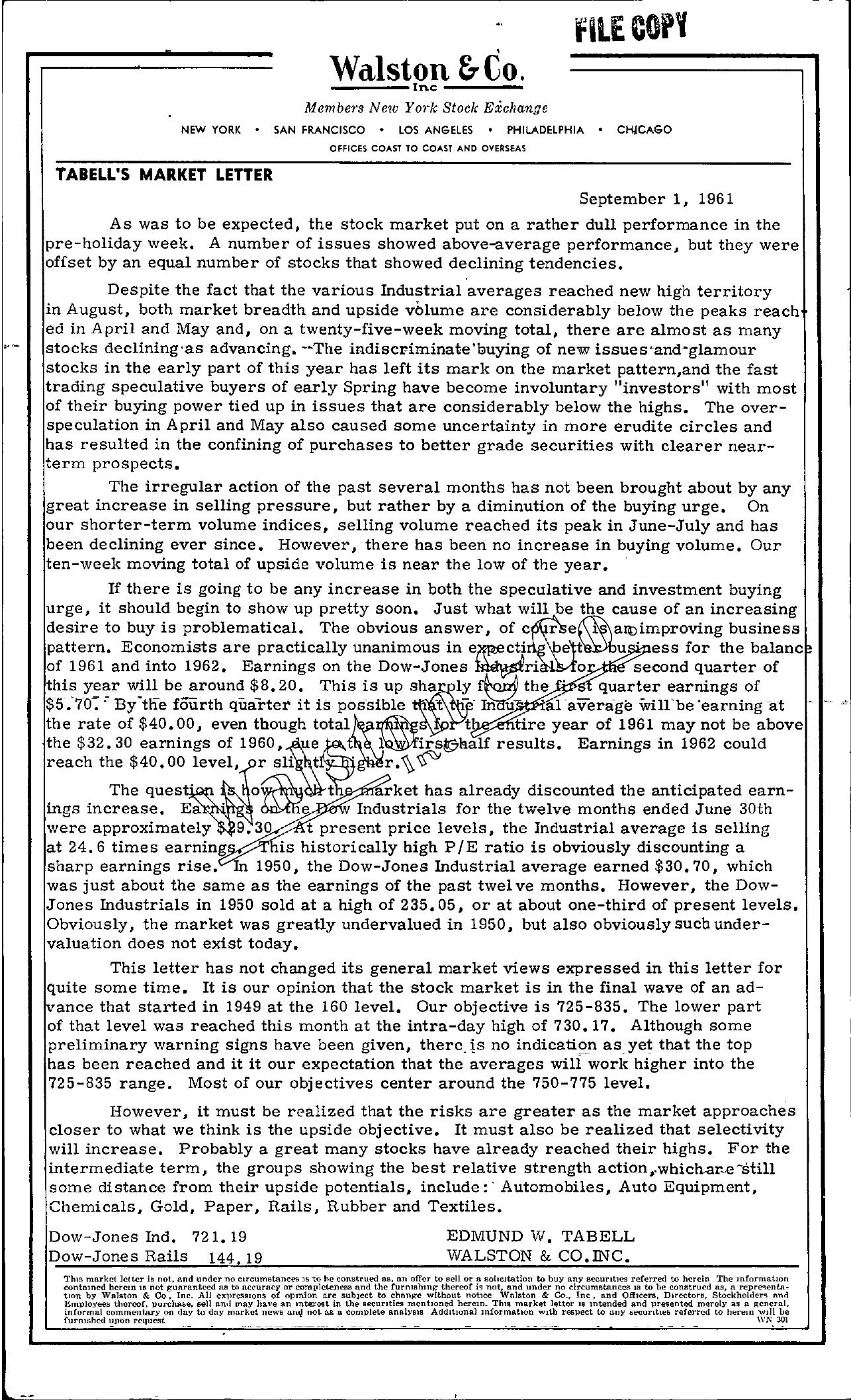 Tabell's Market Letter - September 01, 1961