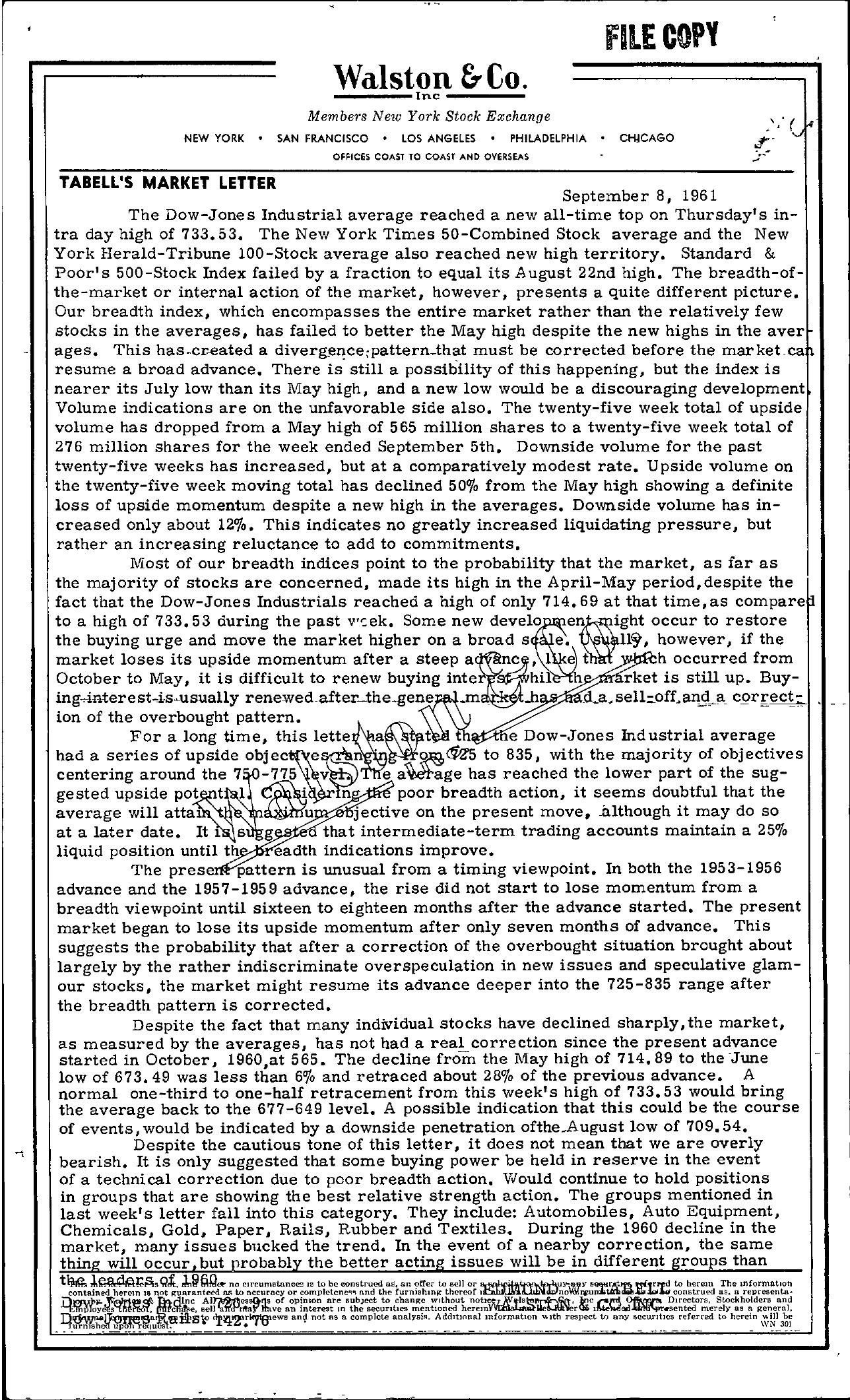 Tabell's Market Letter - September 08, 1961