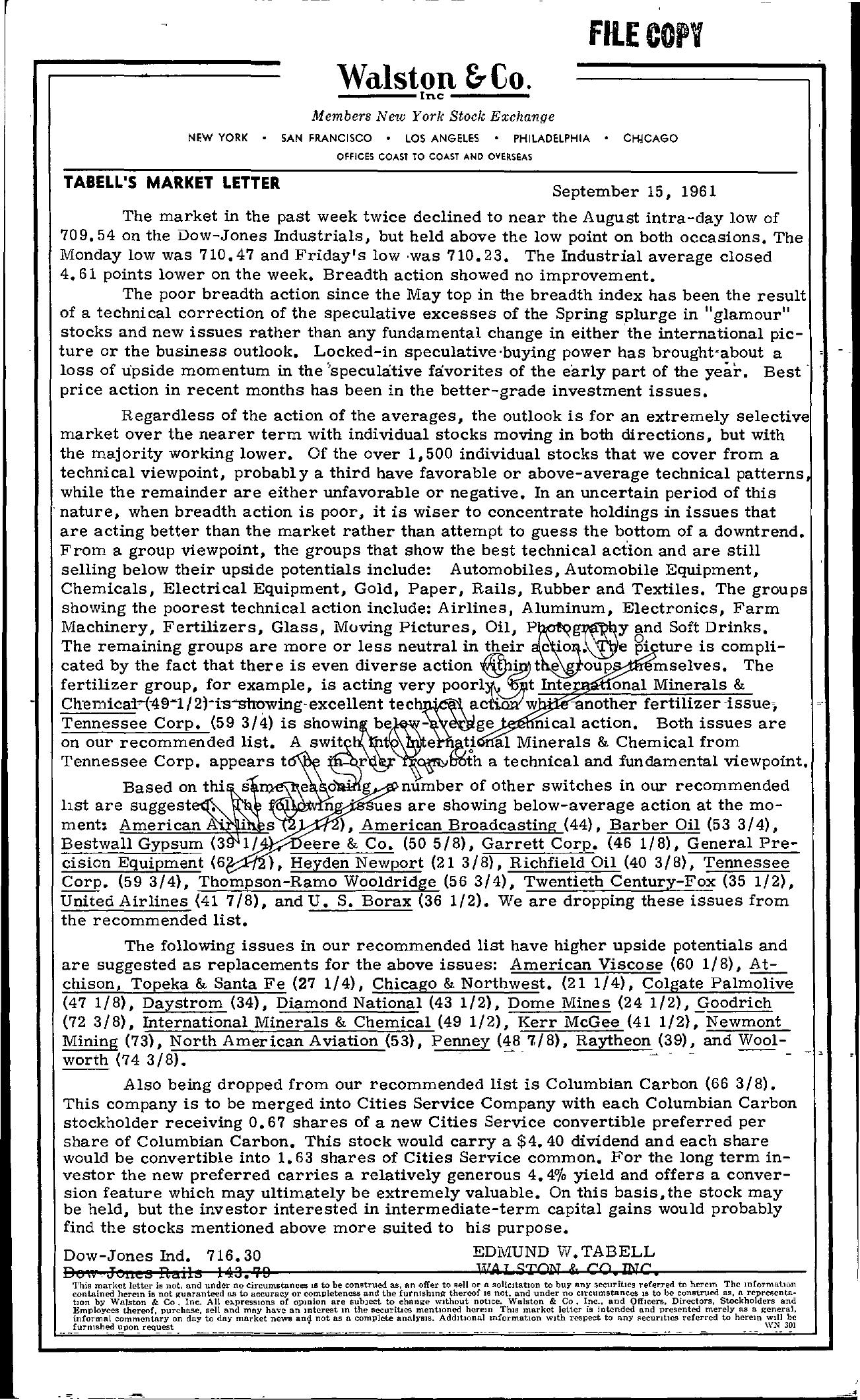 Tabell's Market Letter - September 15, 1961