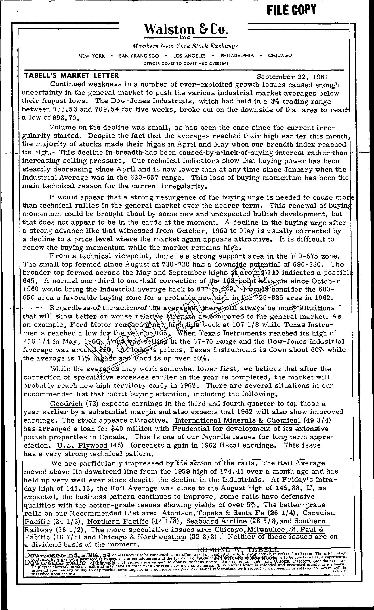 Tabell's Market Letter - September 22, 1961