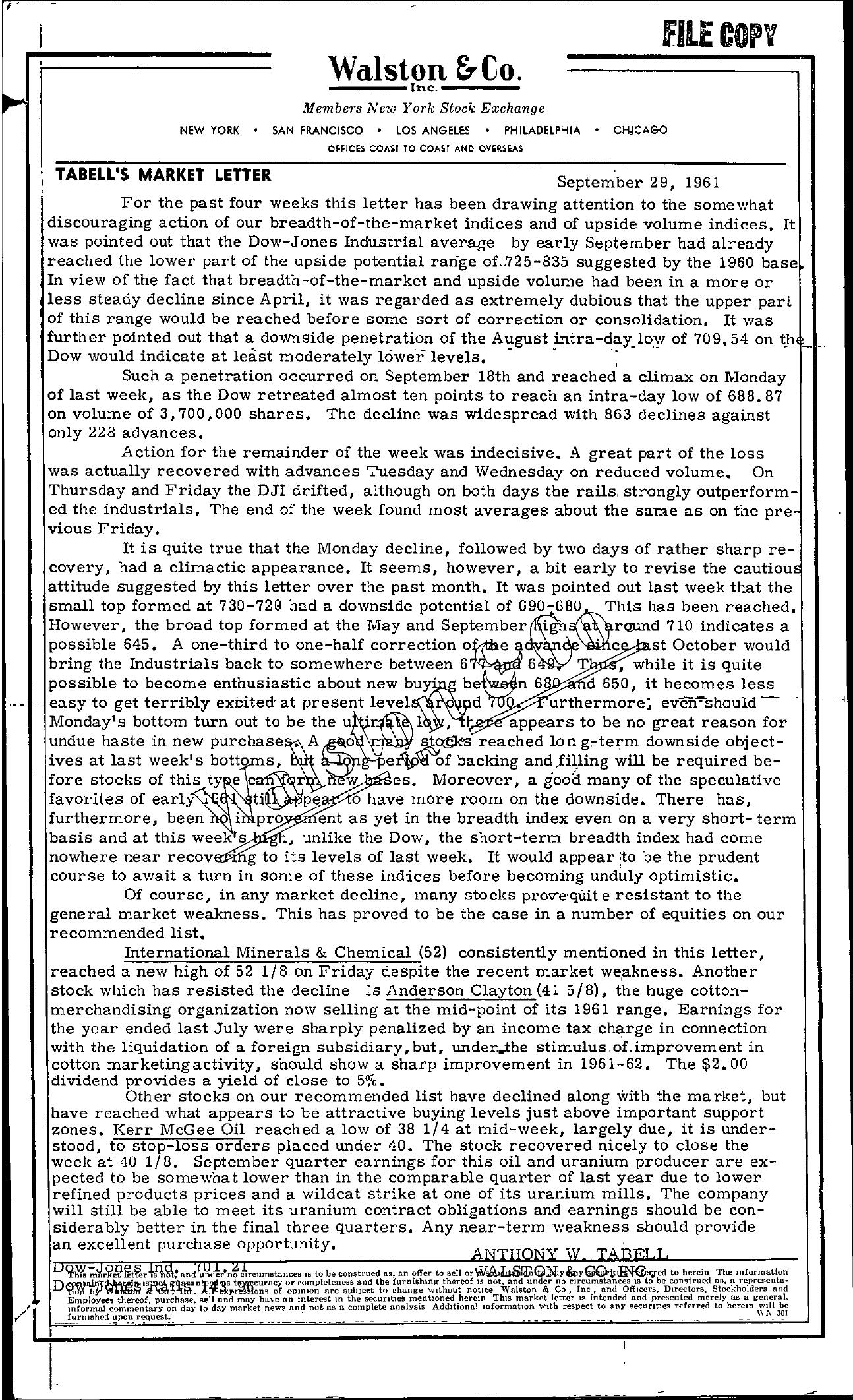Tabell's Market Letter - September 29, 1961