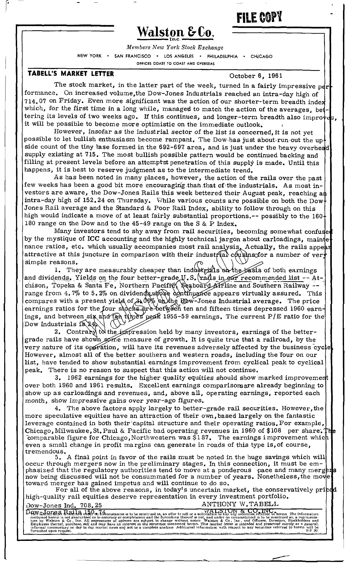 Tabell's Market Letter - October 06, 1961
