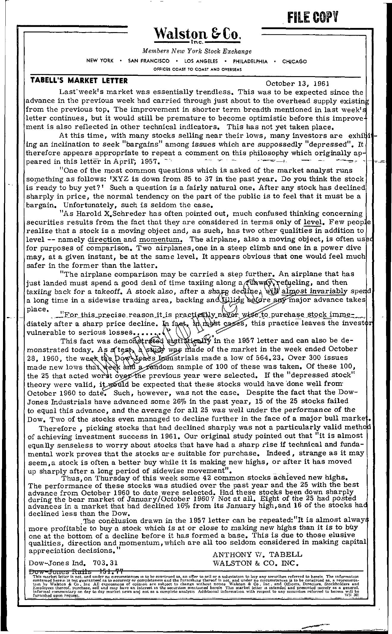 Tabell's Market Letter - October 13, 1961