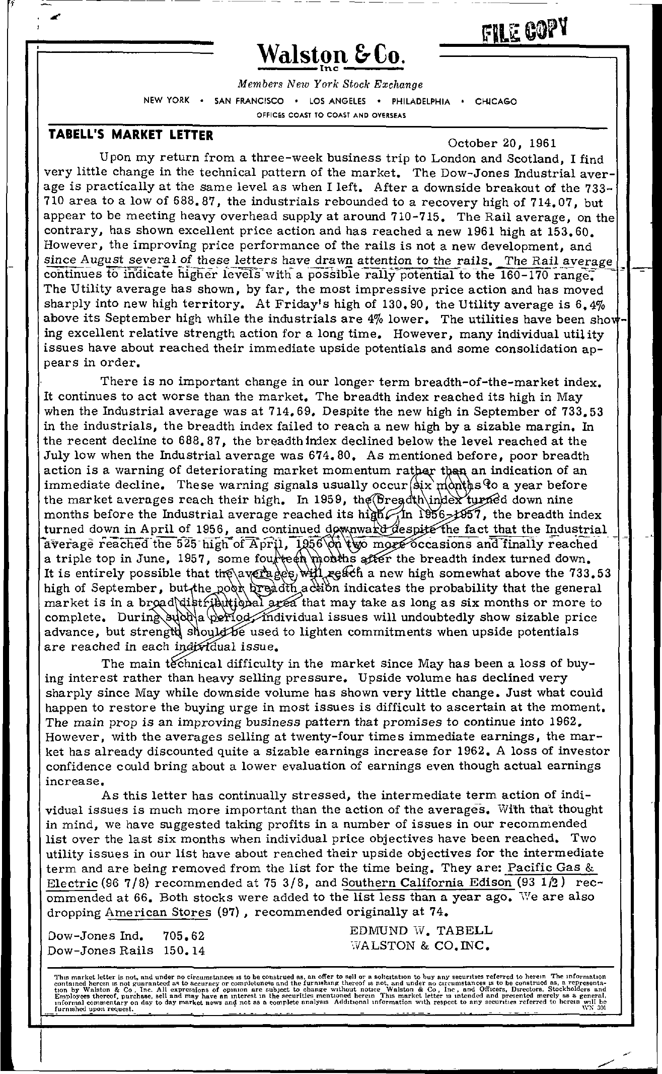 Tabell's Market Letter - October 20, 1961